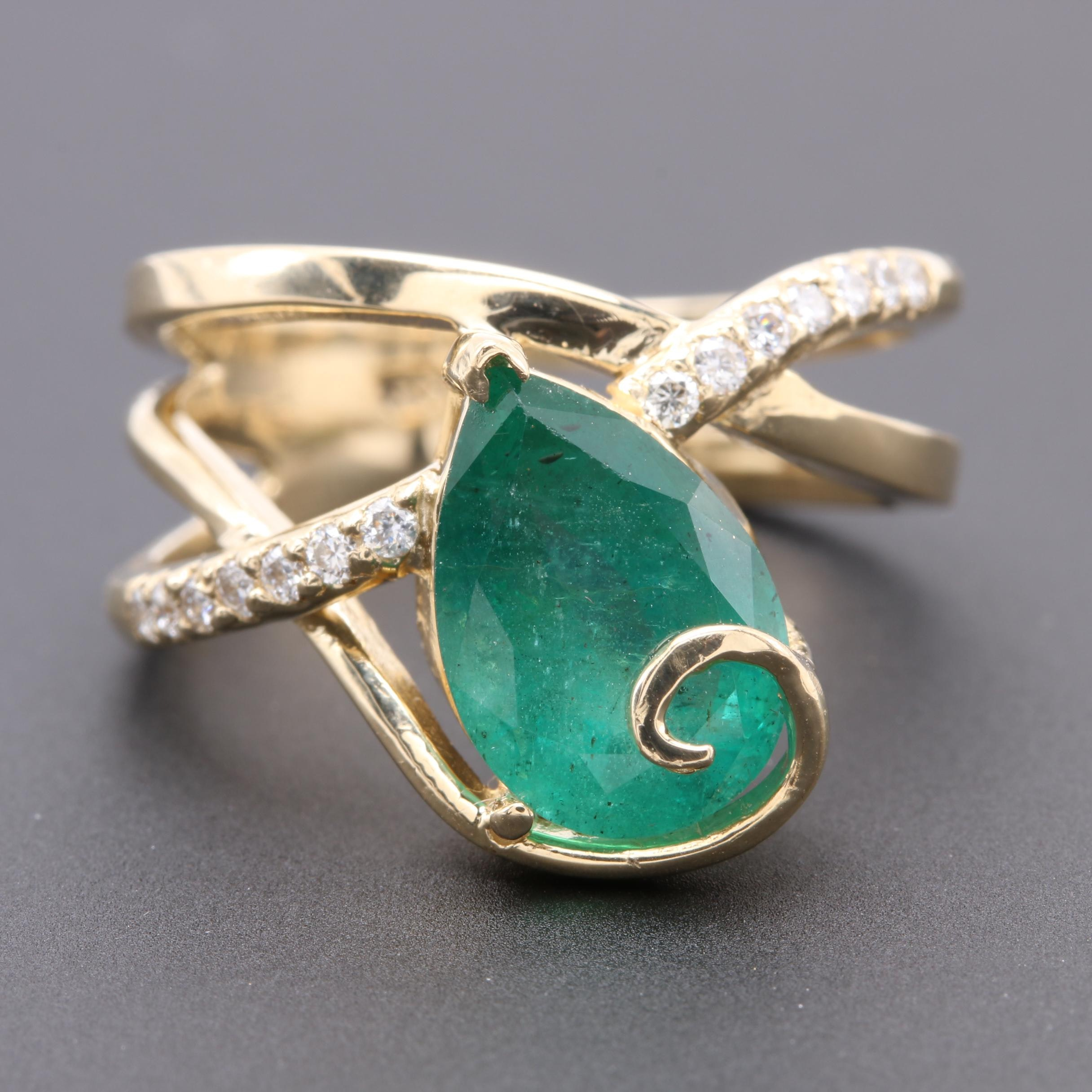 14K Yellow Gold 2.99 CT Emerald and Diamond Ring