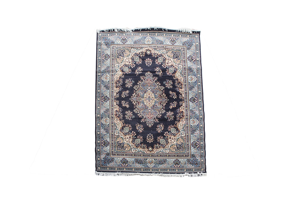 Power-Loomed Persian Qom-Style Wool Area Rug