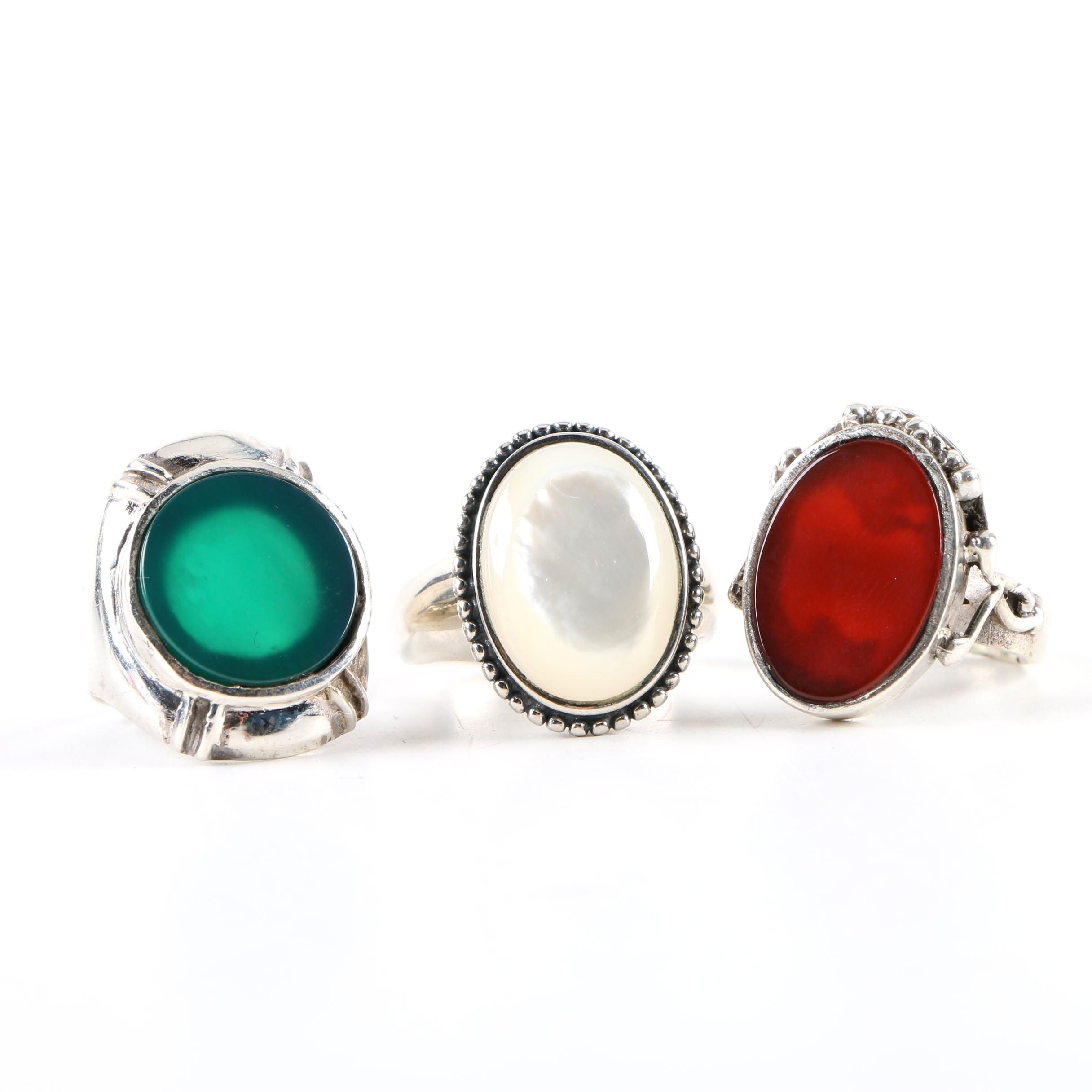 Sterling Silver Ring Assortment Including Mother of Pearl and Chalcedony