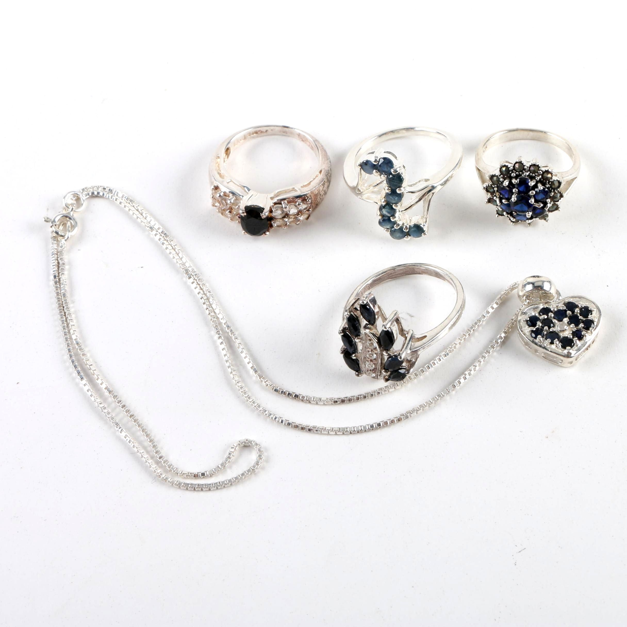 Sterling Silver Jewelry Selection Including Synthetic Sapphires and a Diamond