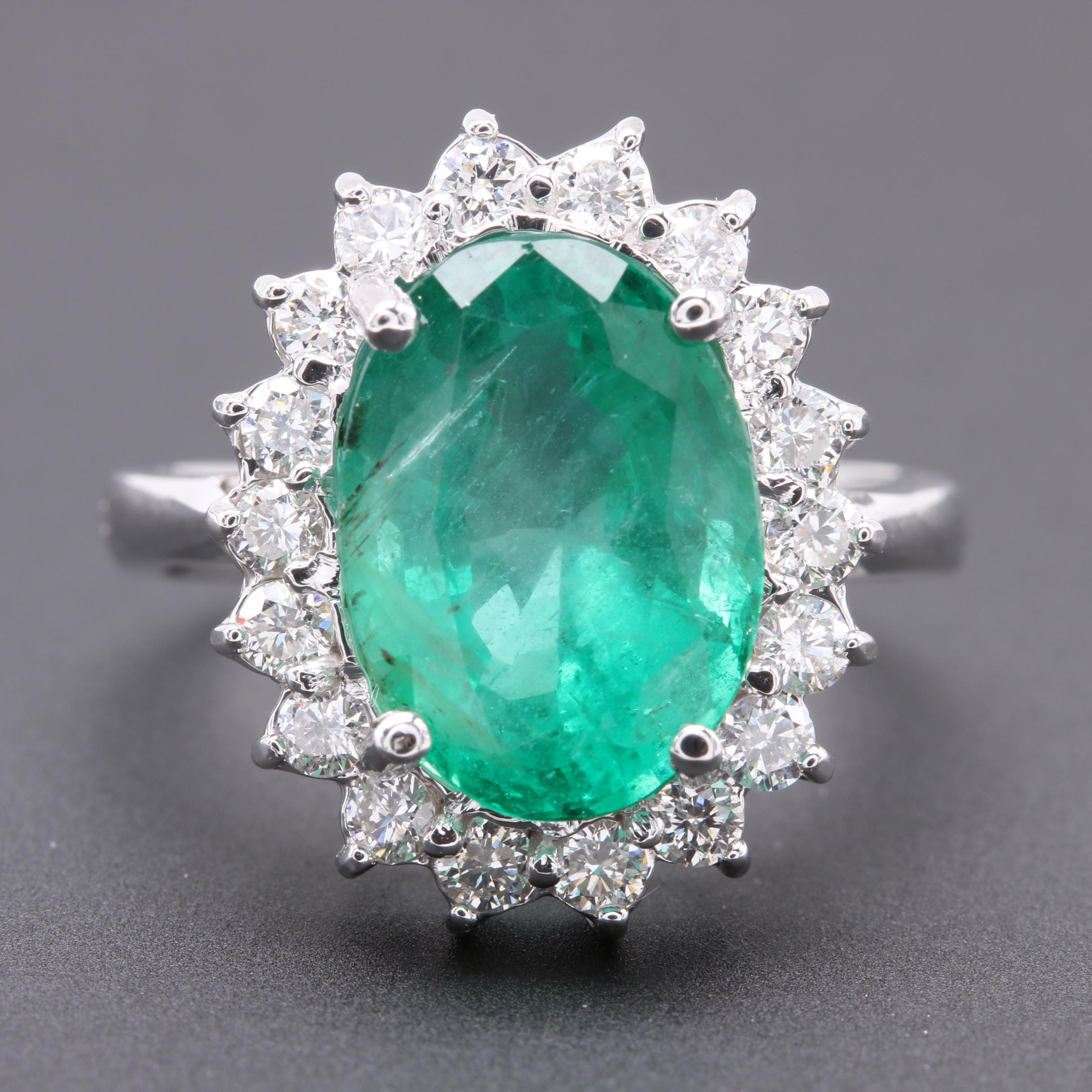 14K White Gold 4.35 CTW Emerald and Diamond Ring