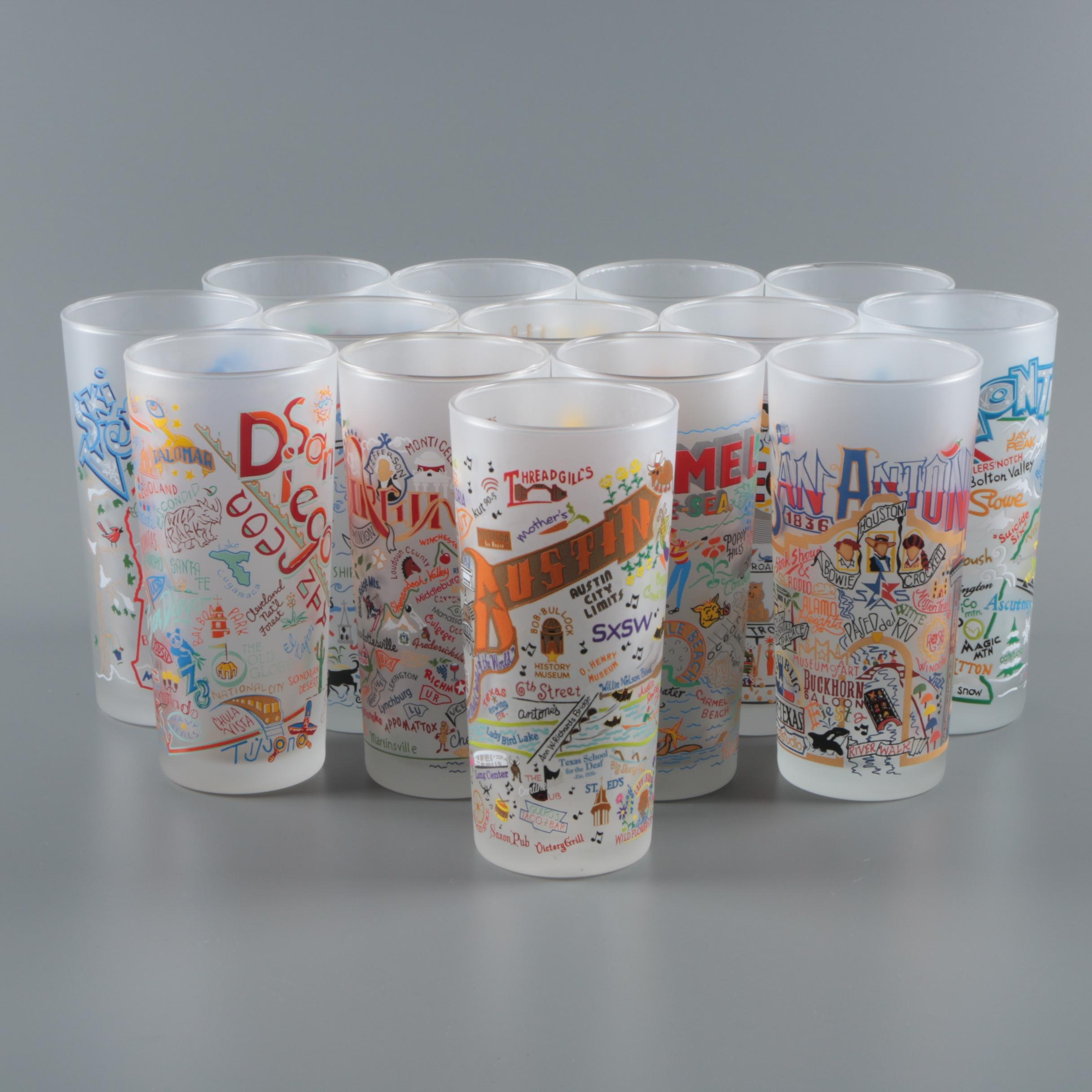 """Catstudio """"Geography Collection"""" Frosted Glass Tumblers"""