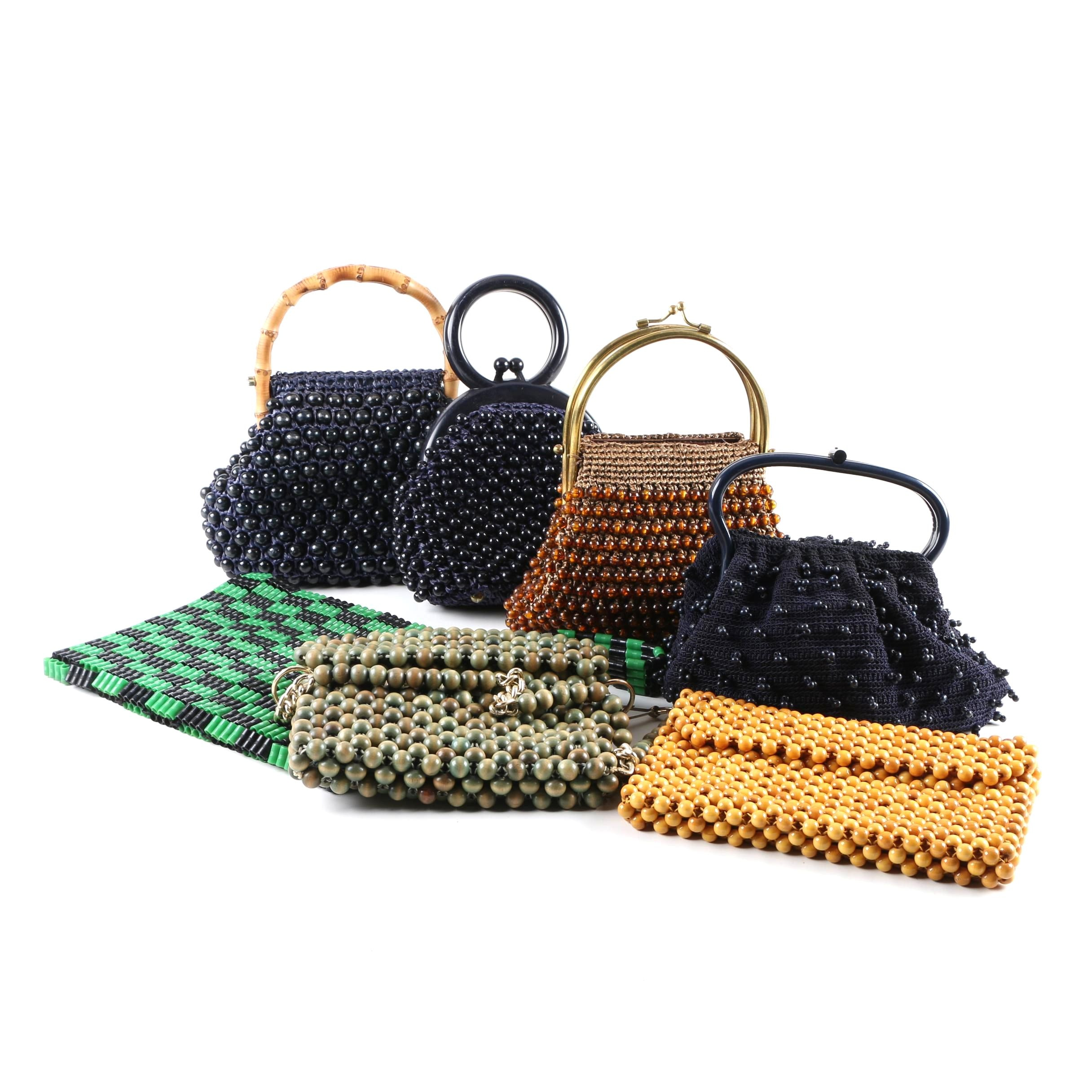 Circa 1970s Woven and Beaded Bags Including Simon, Marcus Brothers and Walborg