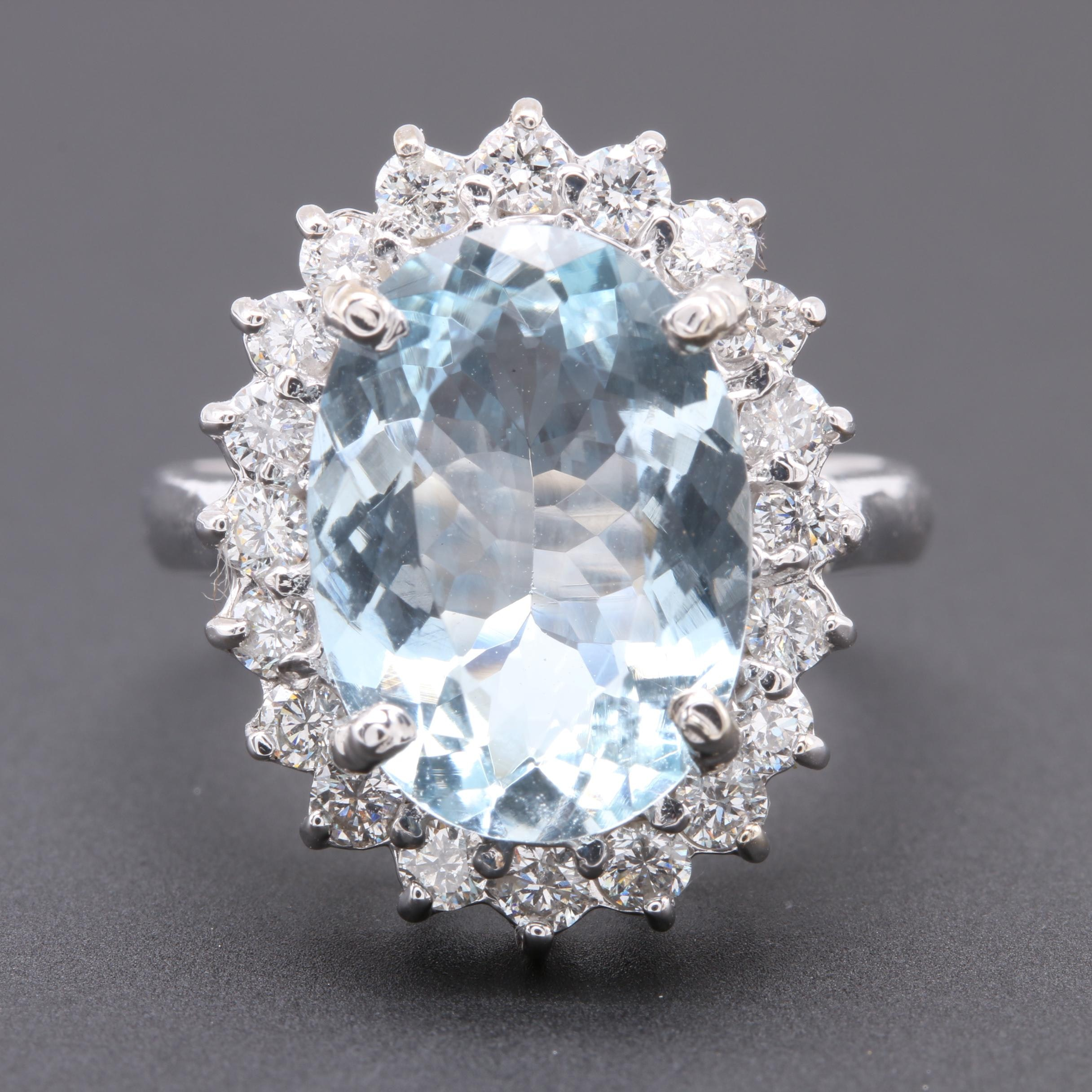 14K White Gold 4.08 CT Aquamarine and Diamond Ring