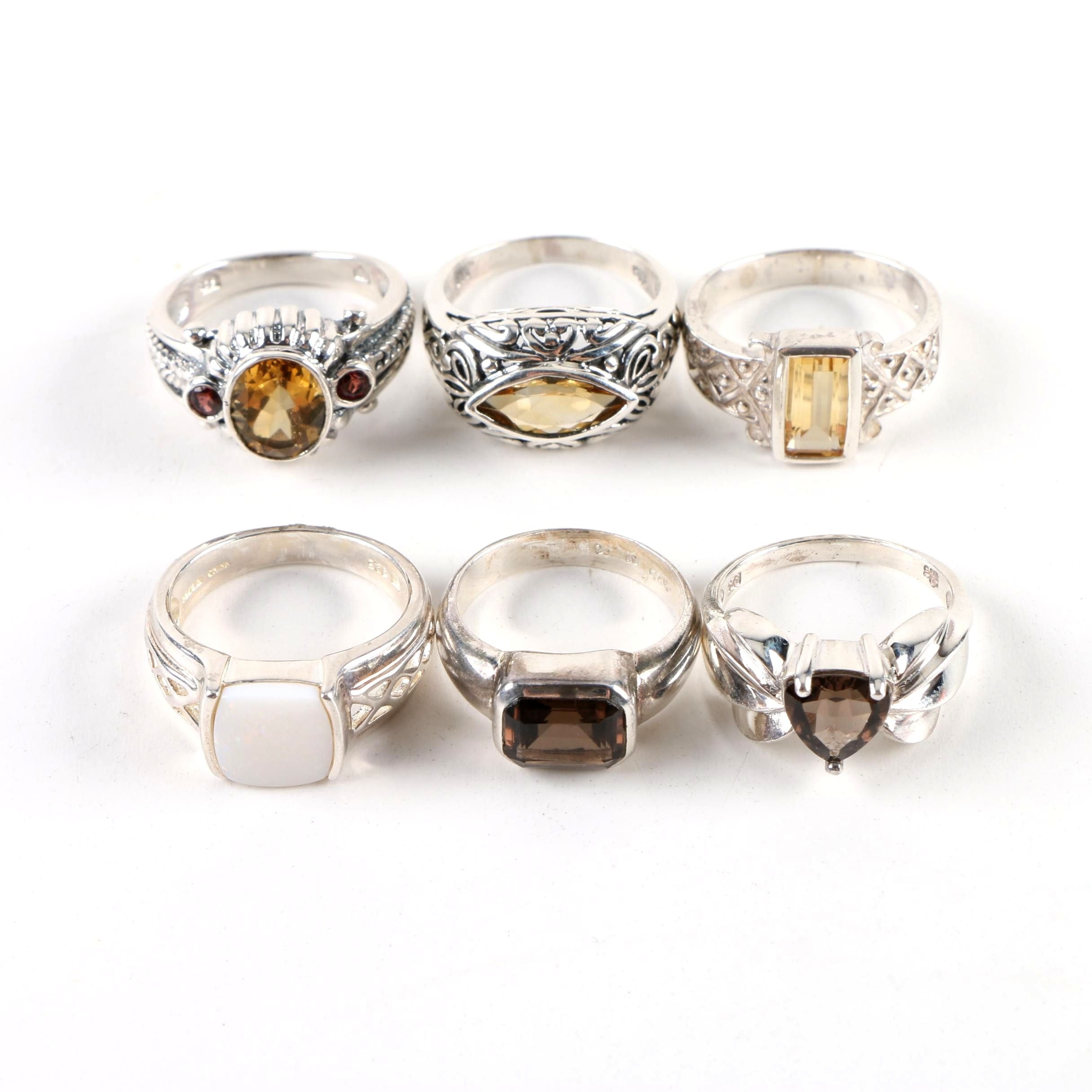 Sterling Silver Ring Assortment Including Opal, Citrine and Smoky Quartz