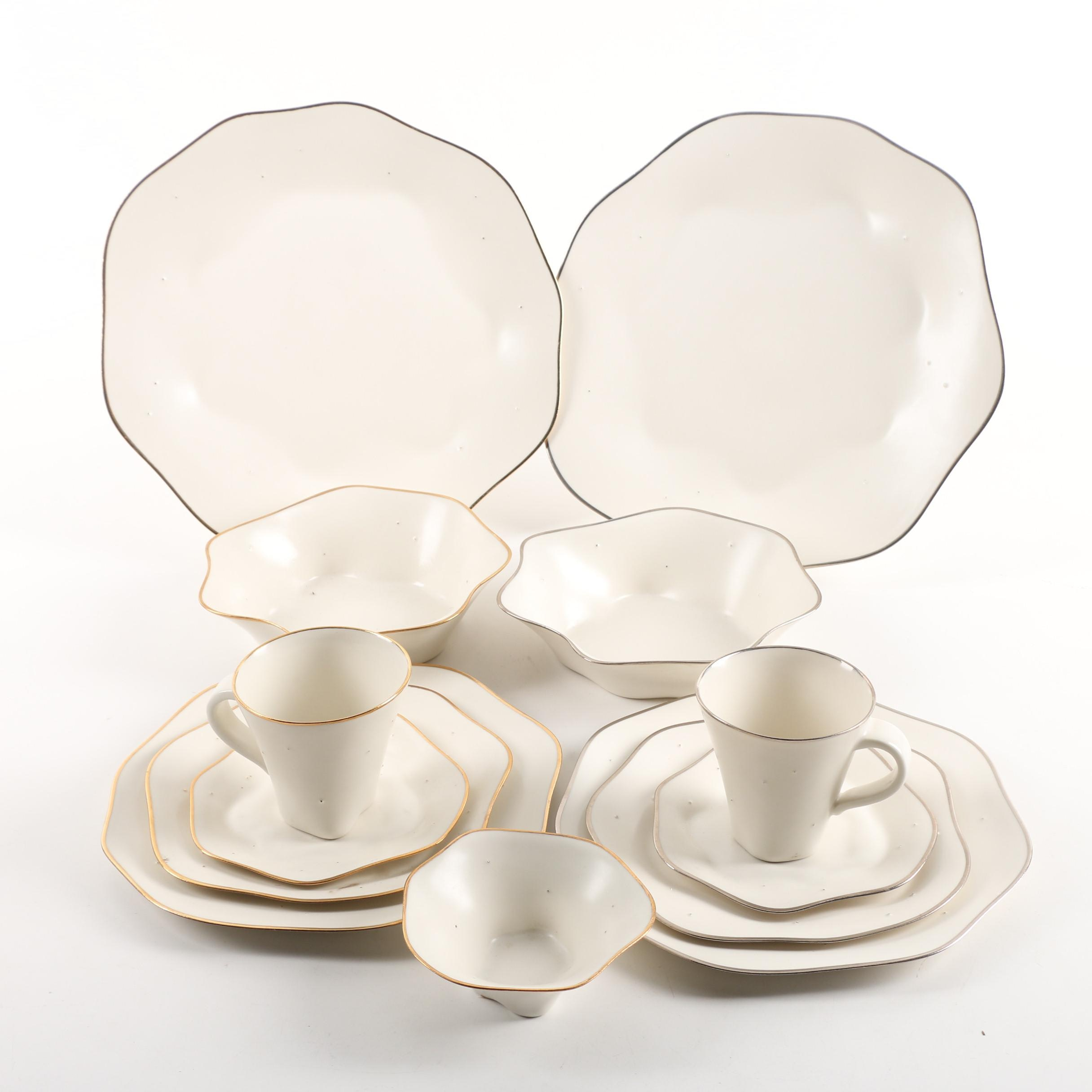 "Handmade Dan Levy ""Wave Dot"" Porcelain Dinnerware"