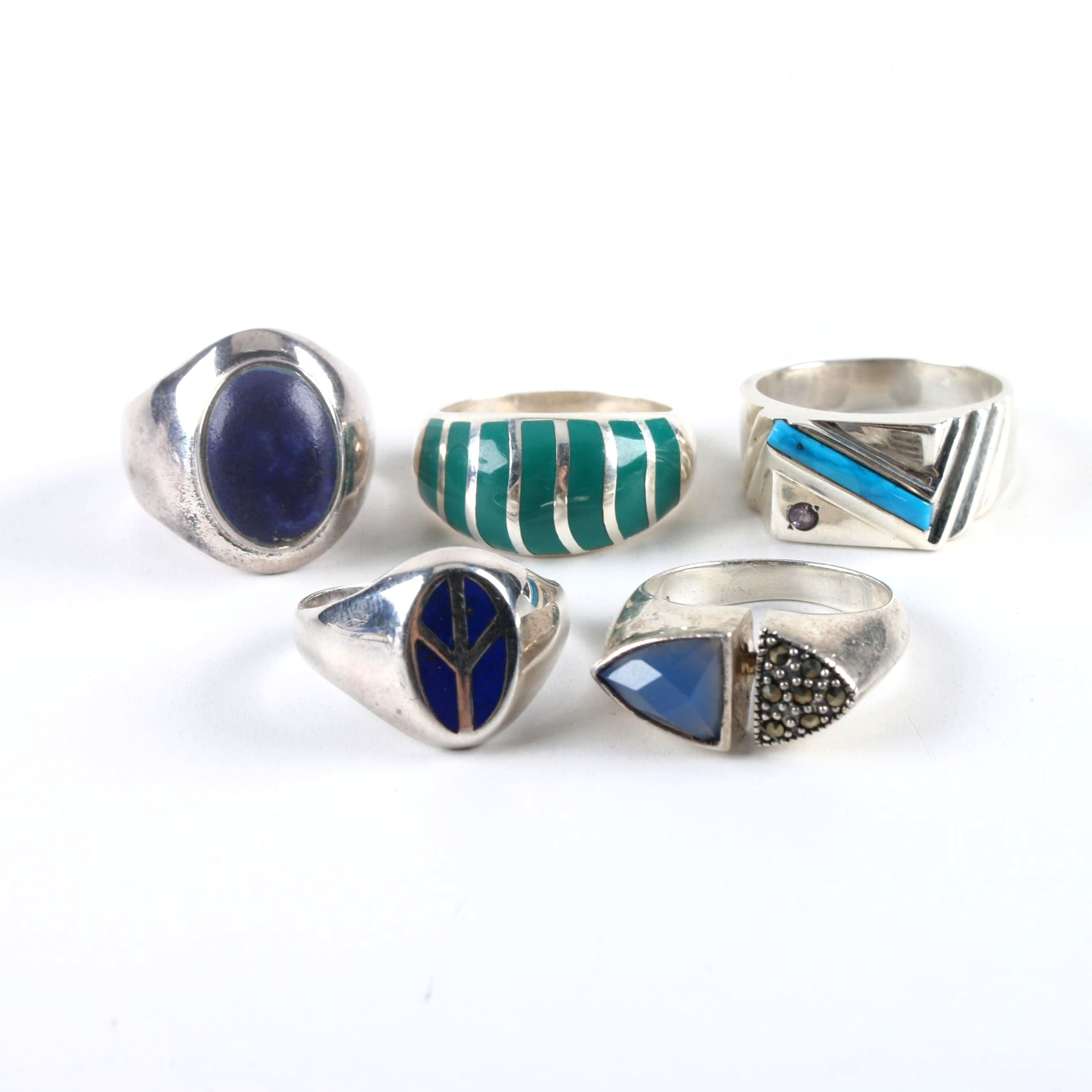 Sterling Silver Ring Selection Including Reconstituted Turquoise and Amethyst