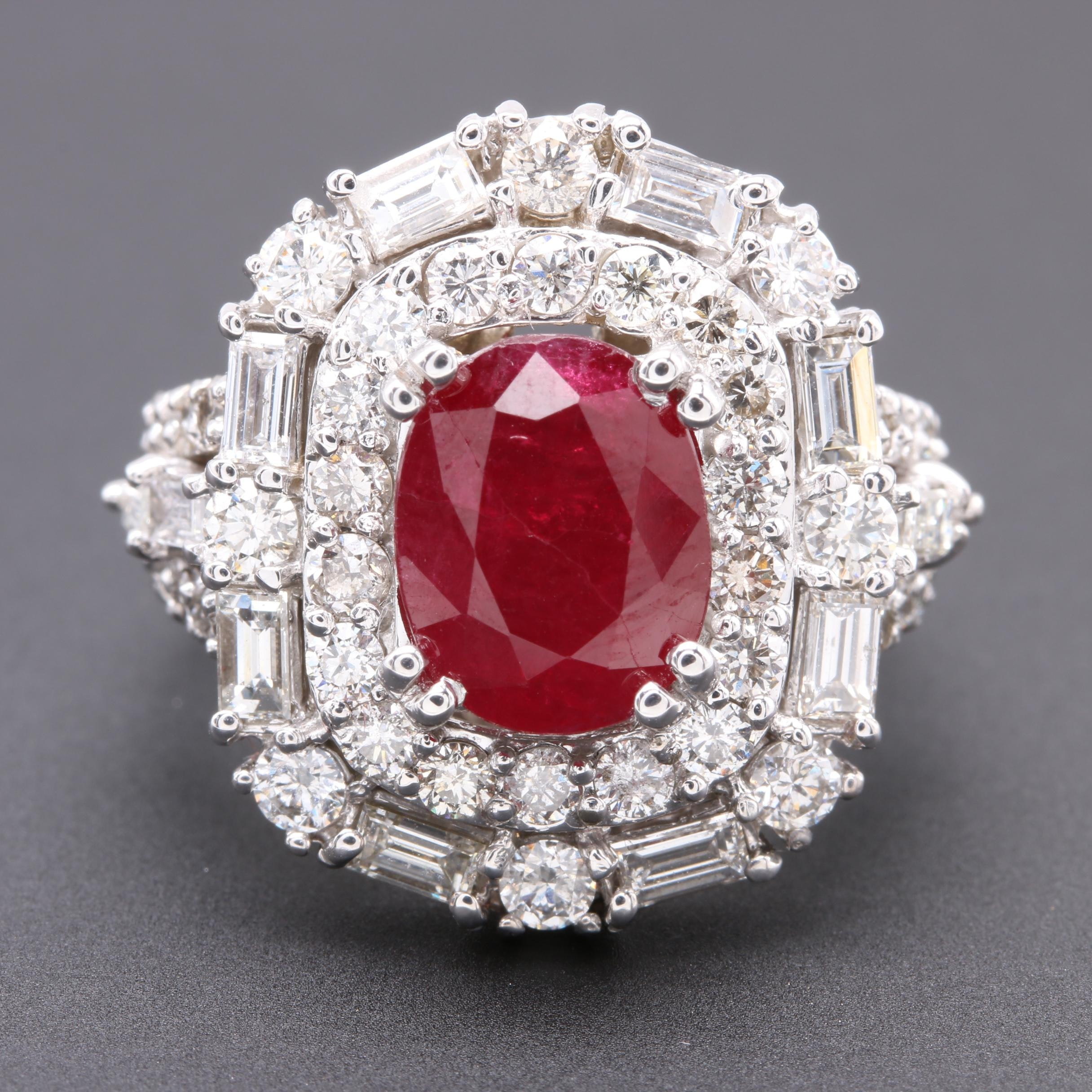 14K White Gold 2.39 CT Ruby and 2.97 CTW Diamond Ring