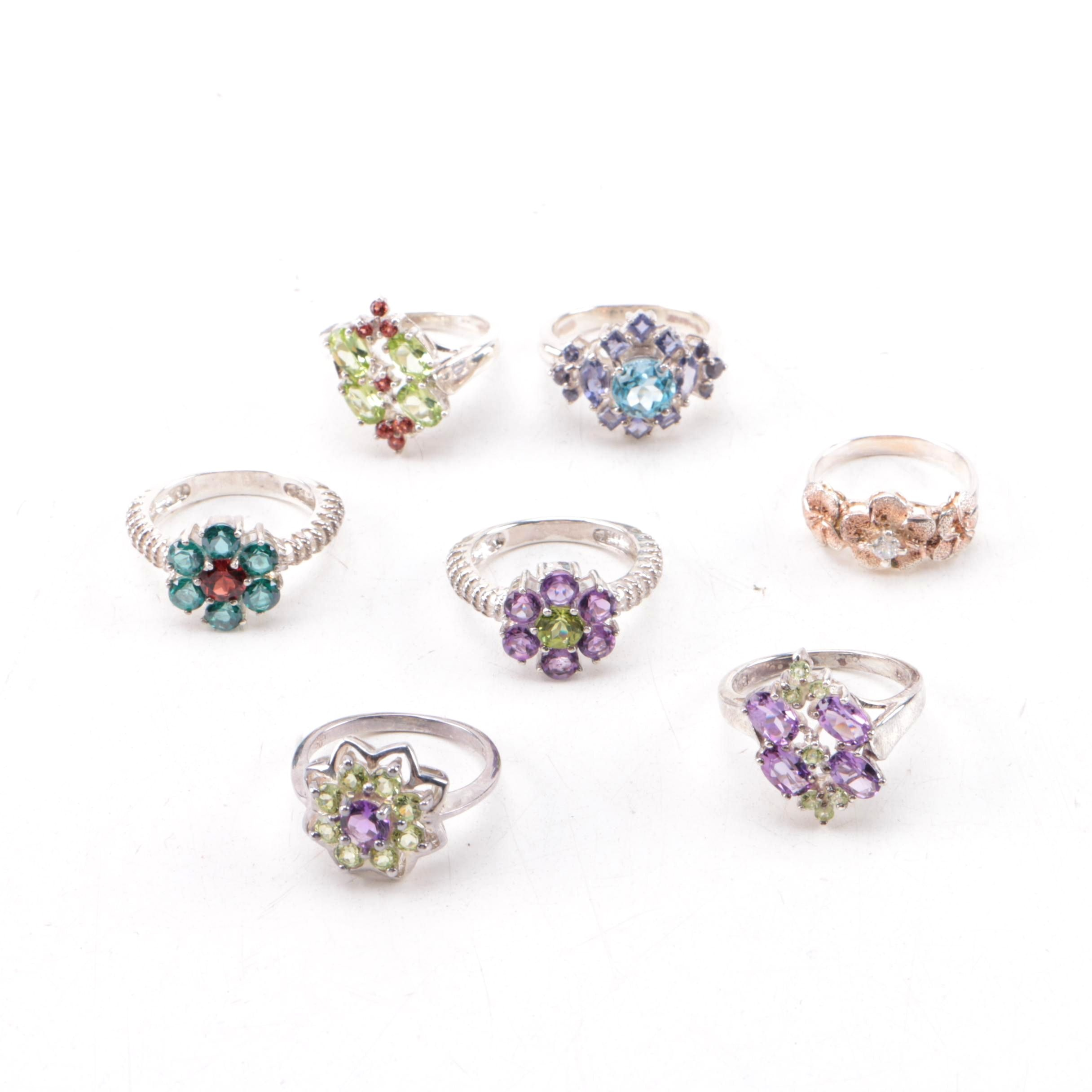Sterling Silver Ring Selection Including Amethyst, Tanzanite and Peridot