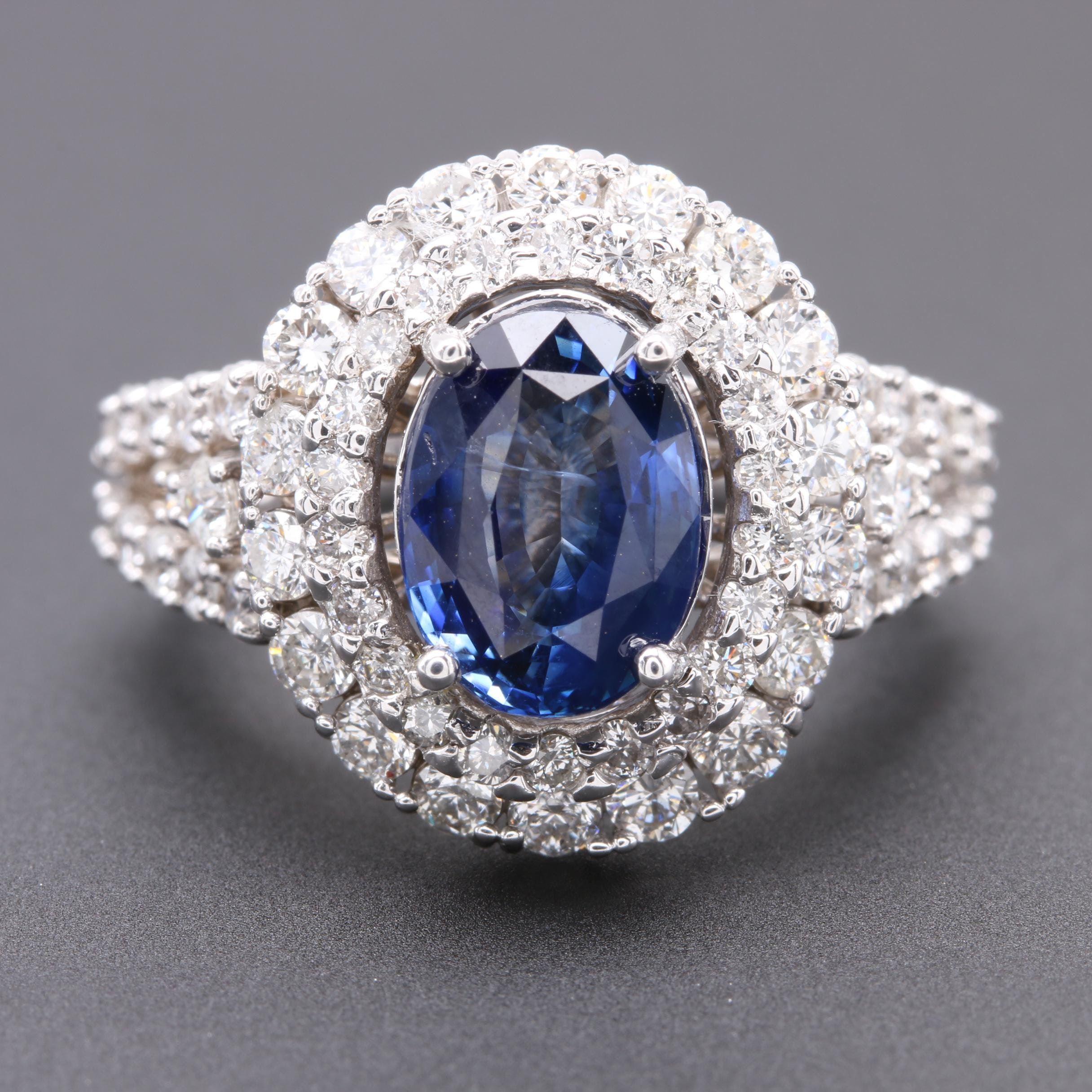 14K White Gold 2.24 CT Sapphire and 2.25 CTW Diamond Ring
