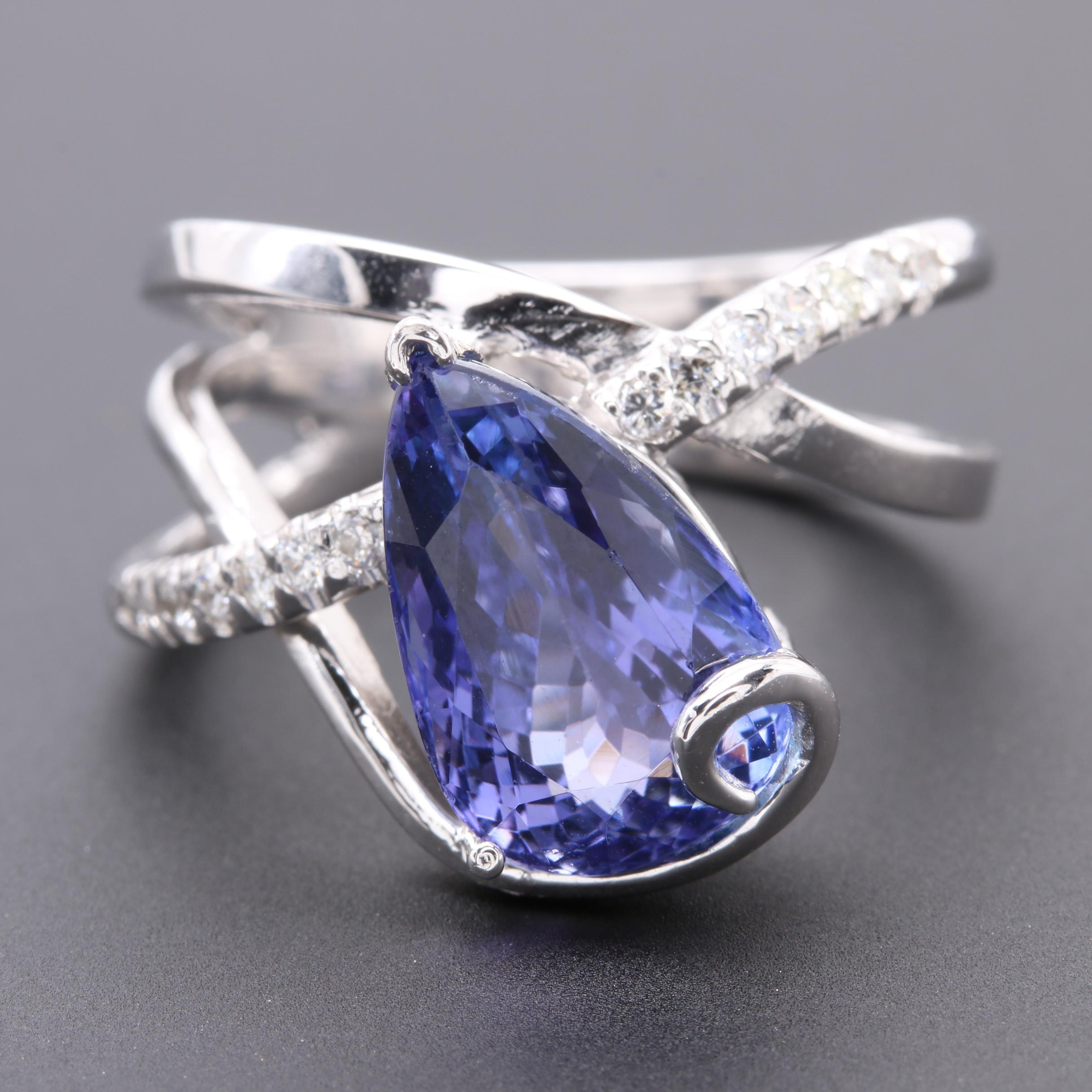 14K White Gold Tanzanite and Diamond Abstract Ring