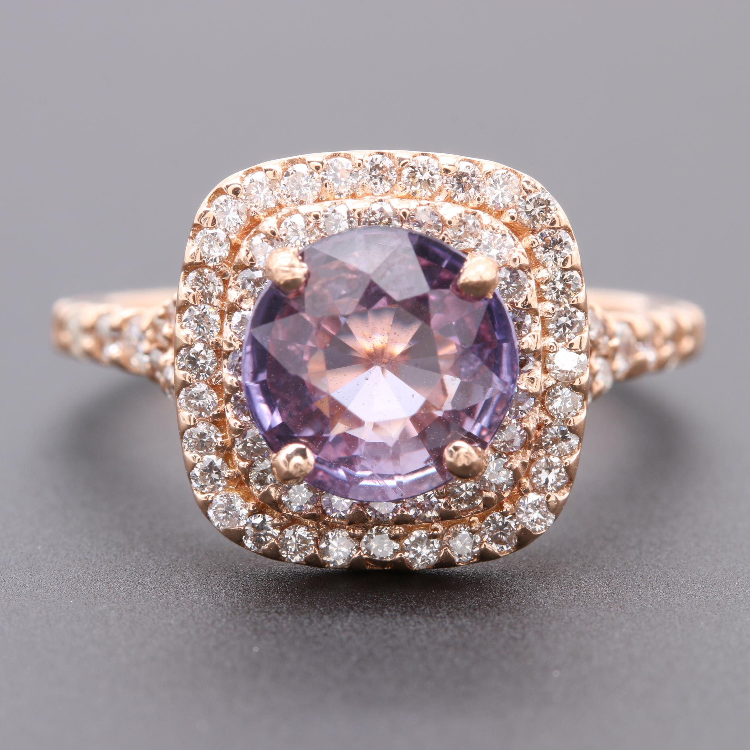 18K Rose Gold 1.28 CT Color Change Sapphire and Diamond Ring
