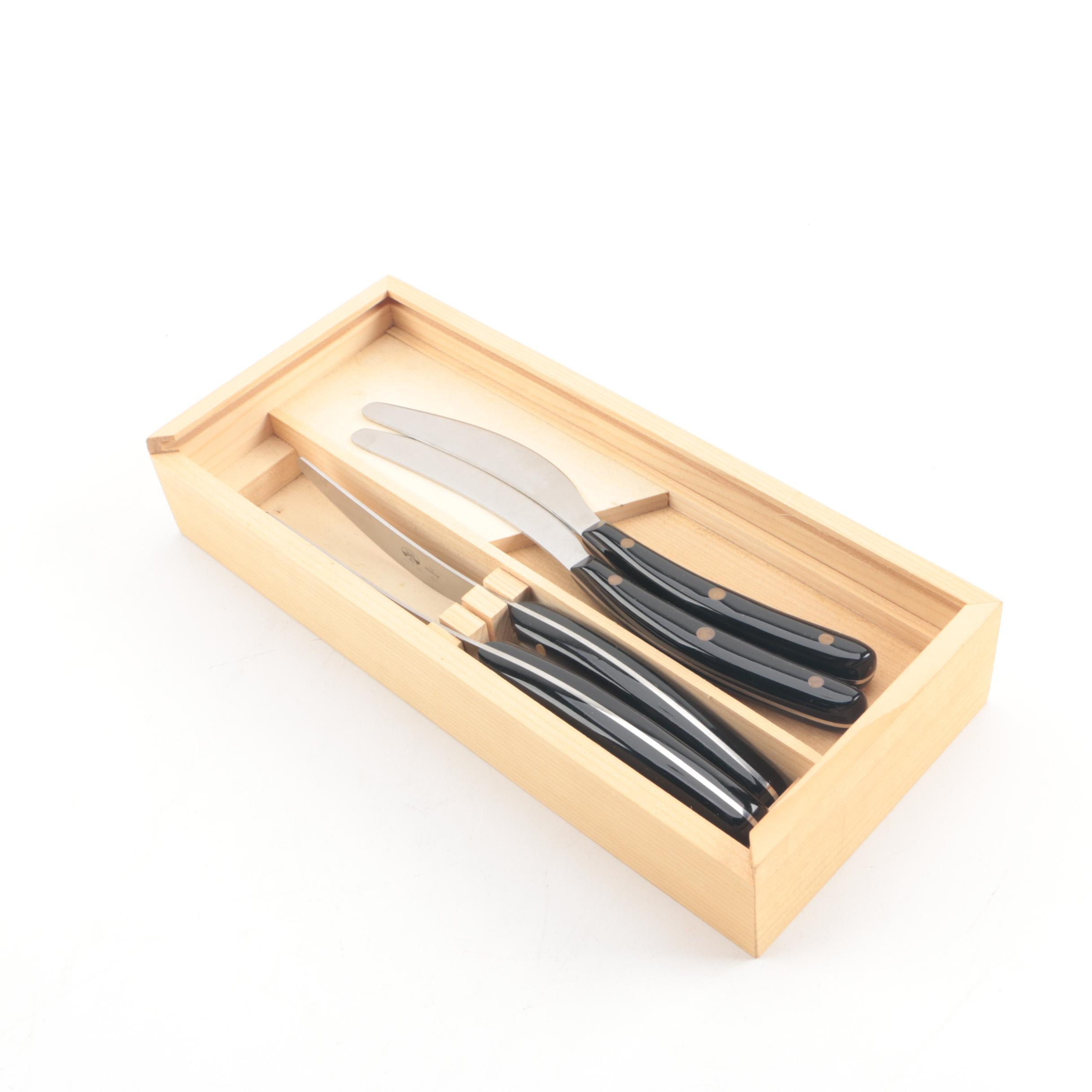 Coltellerie Berti Italian Knives in Box with Lucite Handles
