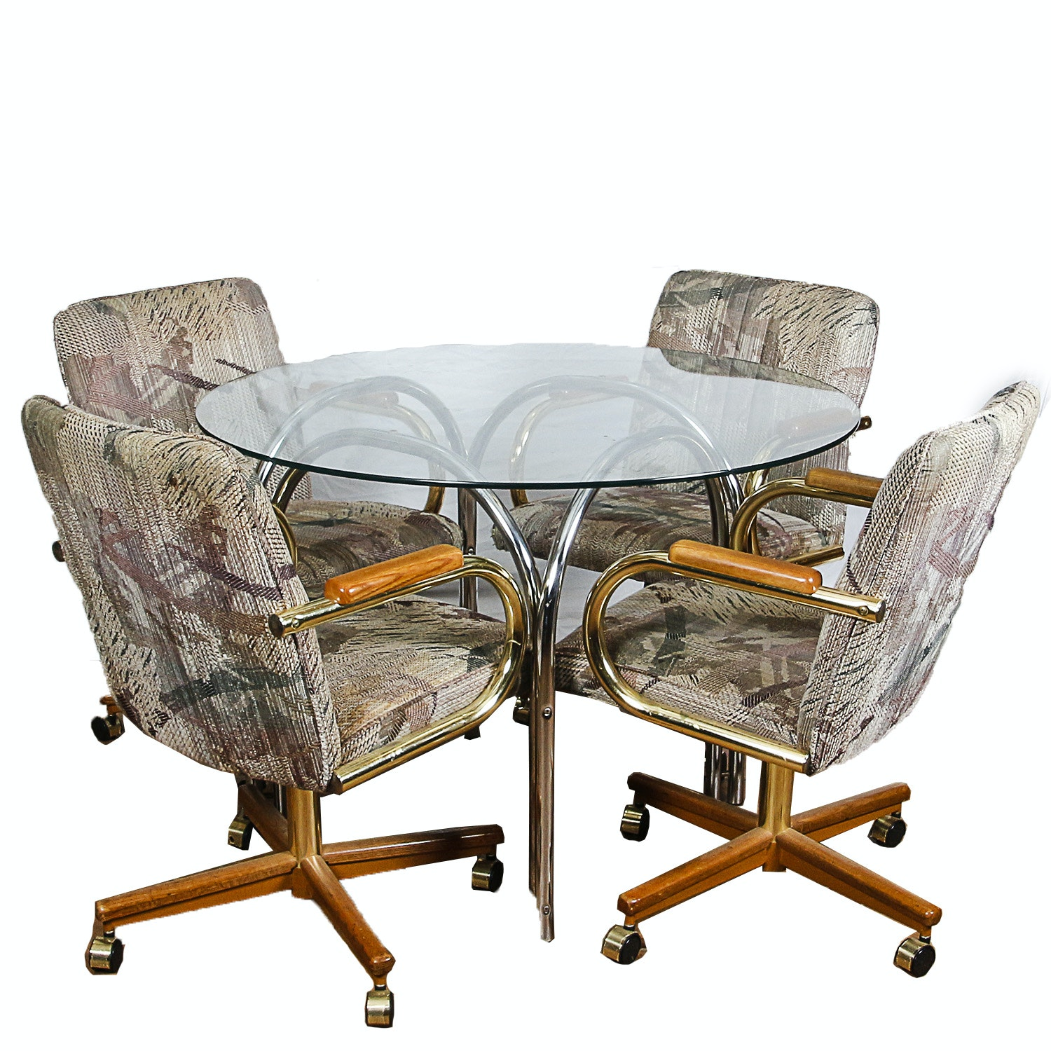 Vintage Glass and Metal Table with Armchairs
