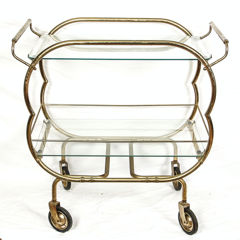 Mid-Century Glass and Metal Bar Cart