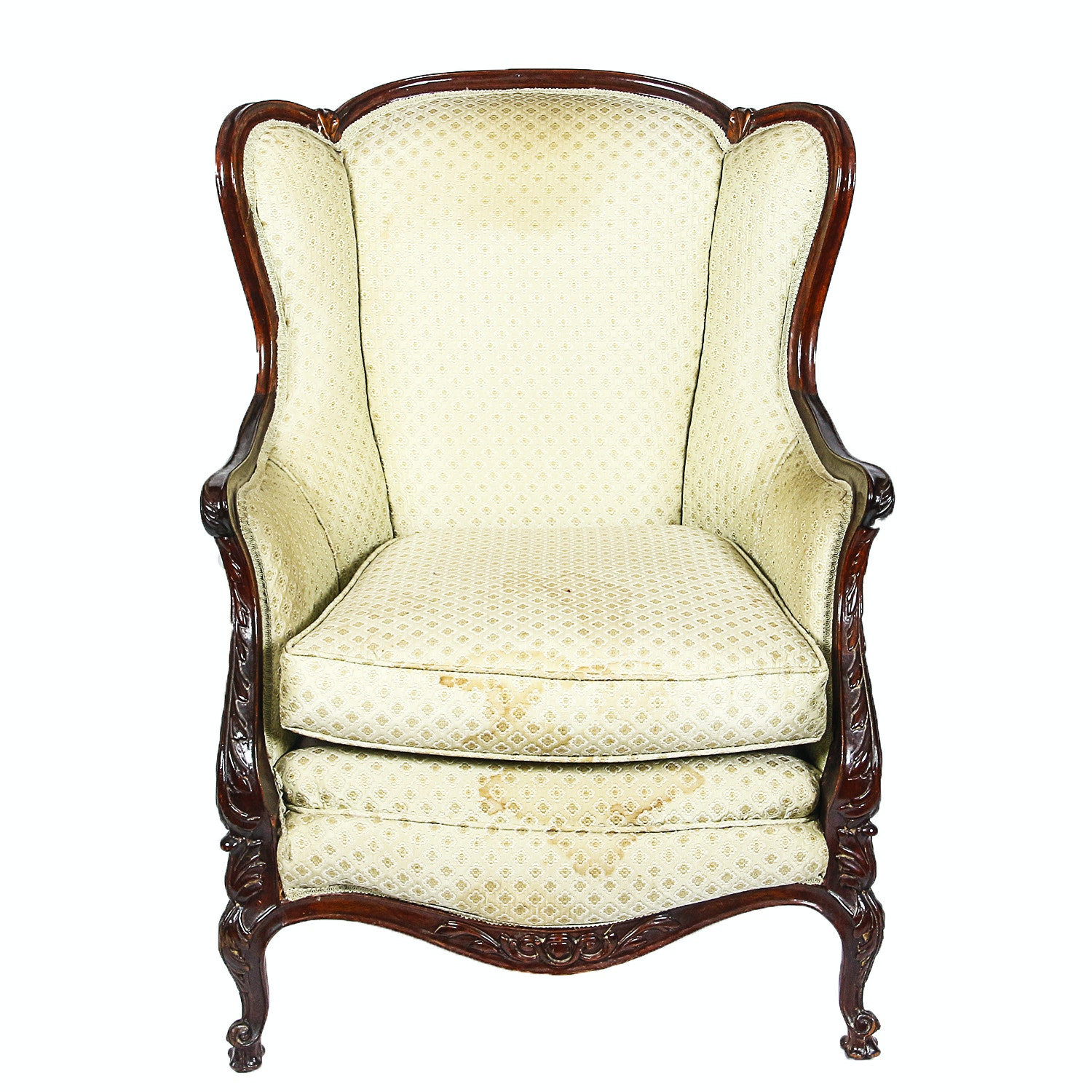 Vintage French Provincial Style Upholstered Wingback Chair