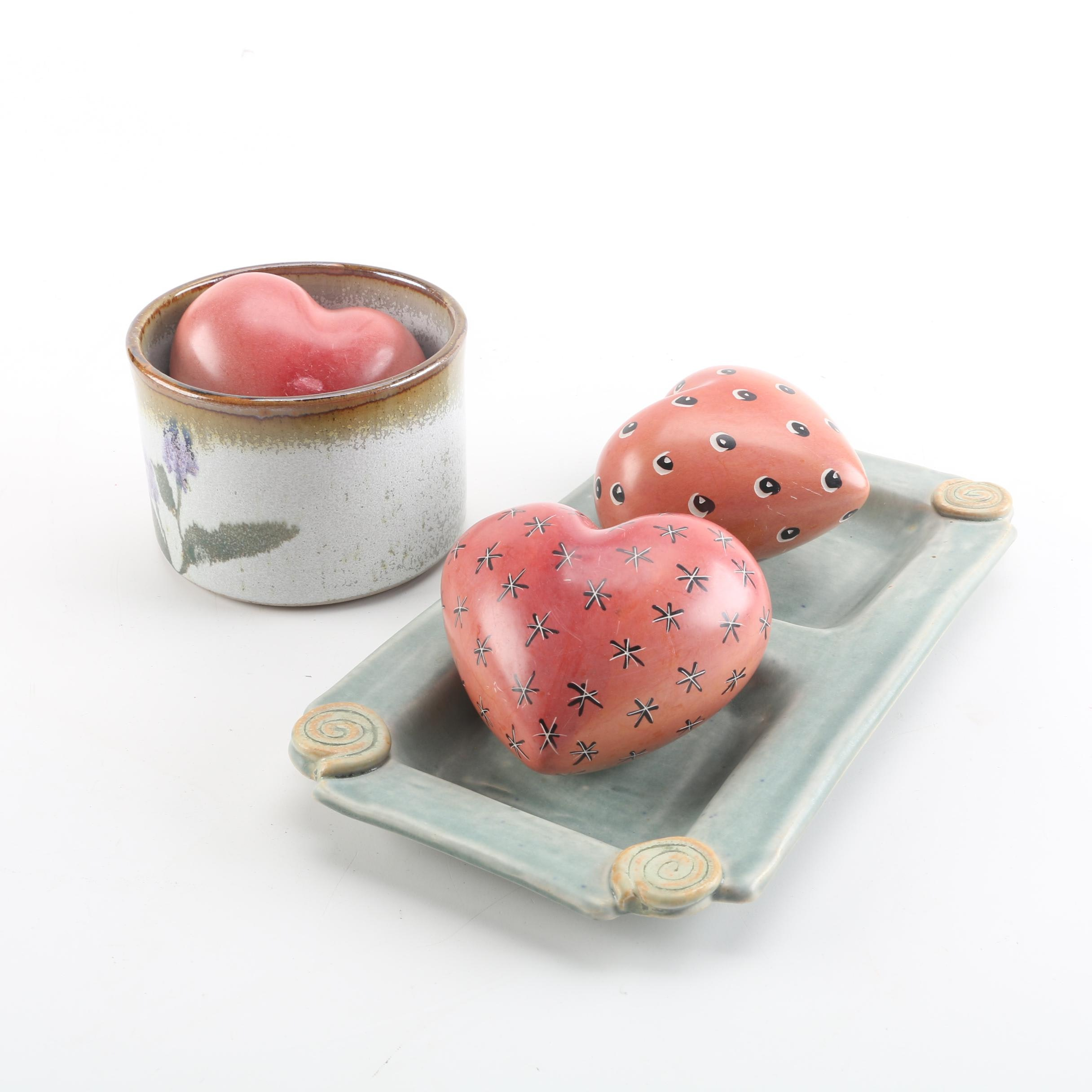 Signed Stoneware Bowls with Ceramic Heart Figurines