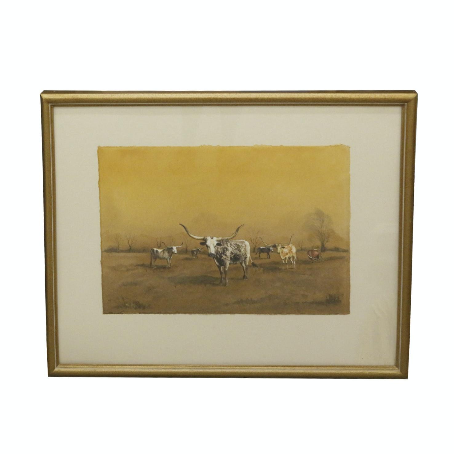 Watercolor of Texas Longhorns