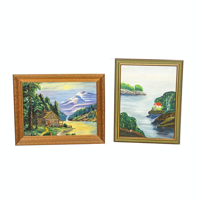 Naïve Acrylic Landscape Paintings