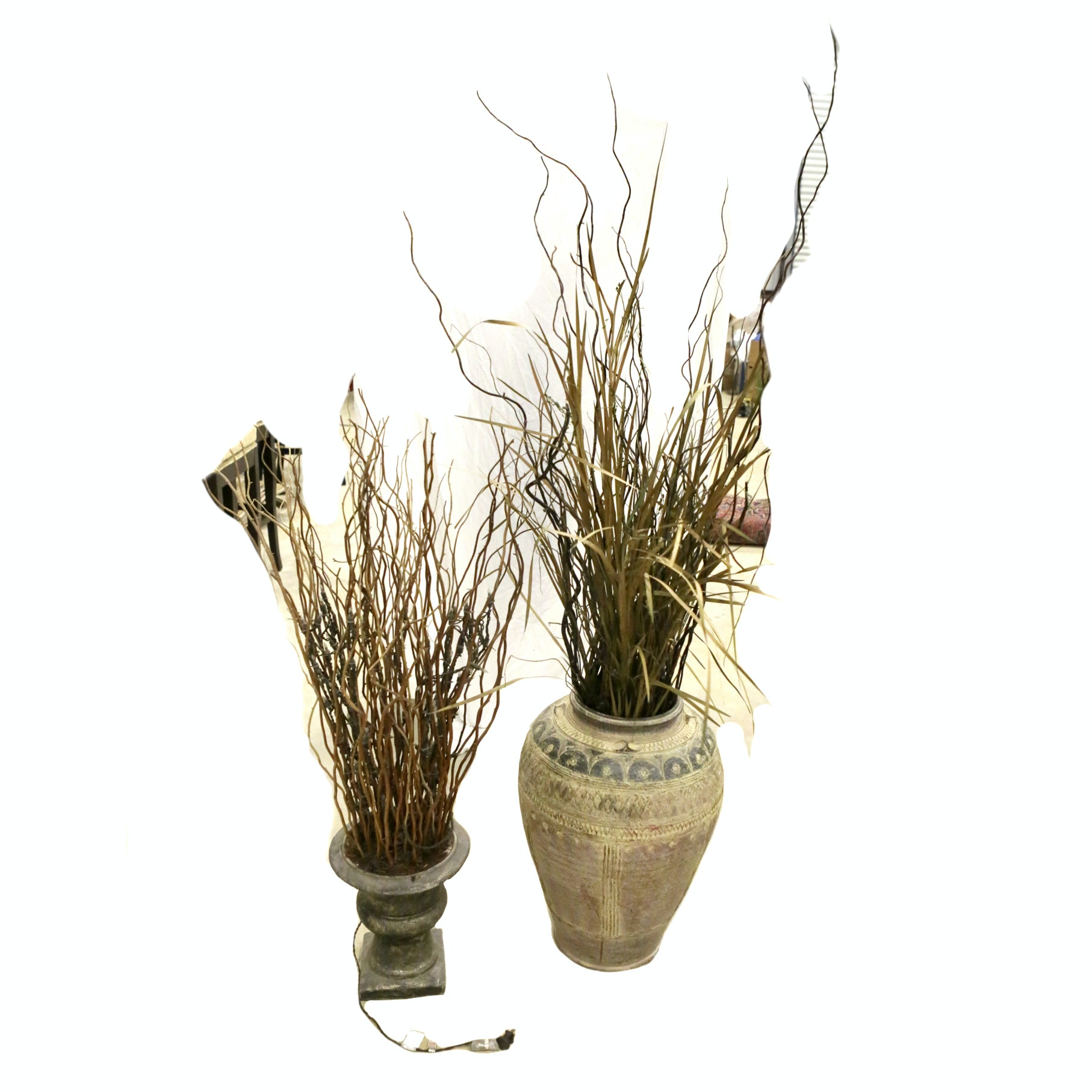Decorative Planters With Faux Plants