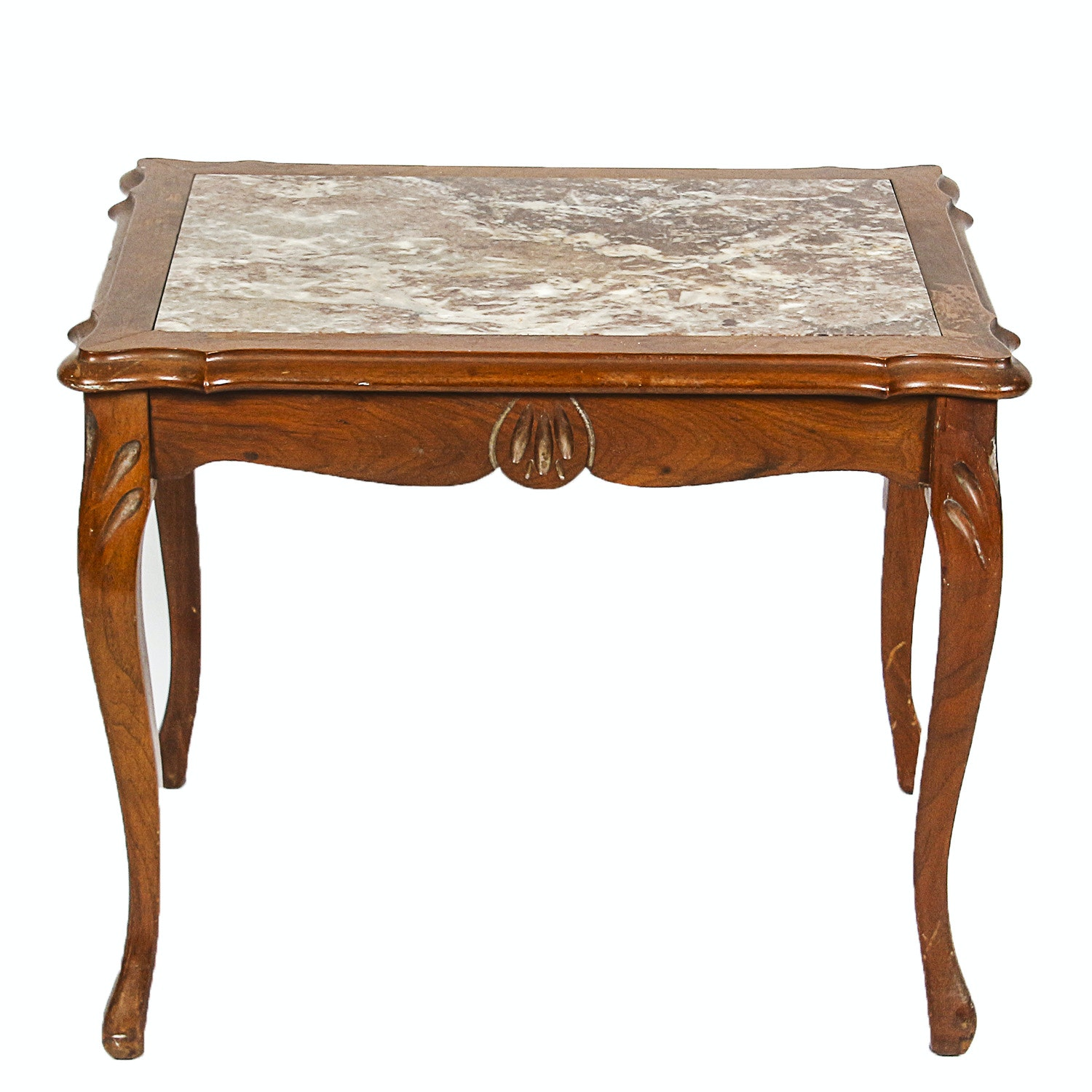 Stone Top Wooden Side Table