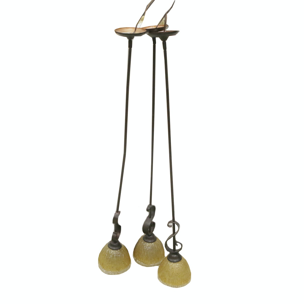 Wrought Metal and Glass Pendant Lights