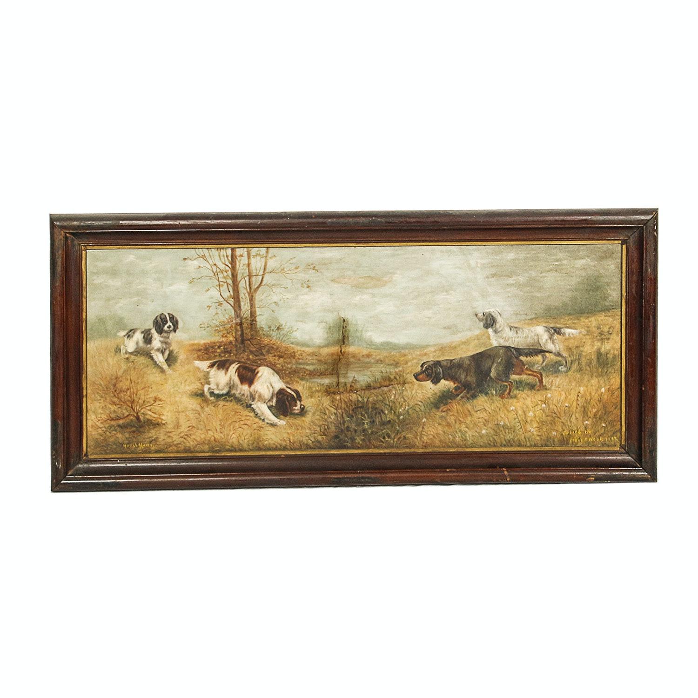 "Frankie Web 1932 Copy Oil Painting ""Quail Hunt"""