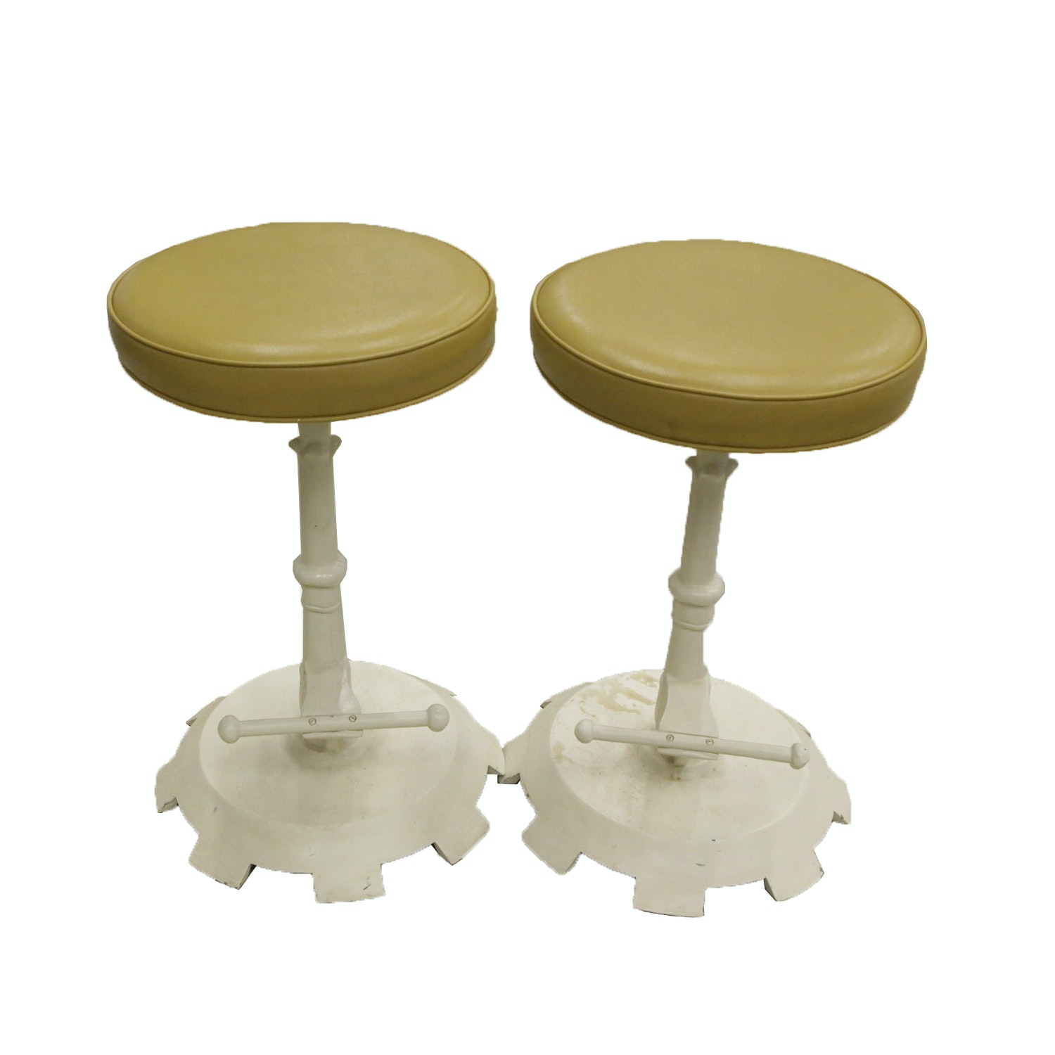 Vintage Yellow and White Swivel Counter Stools