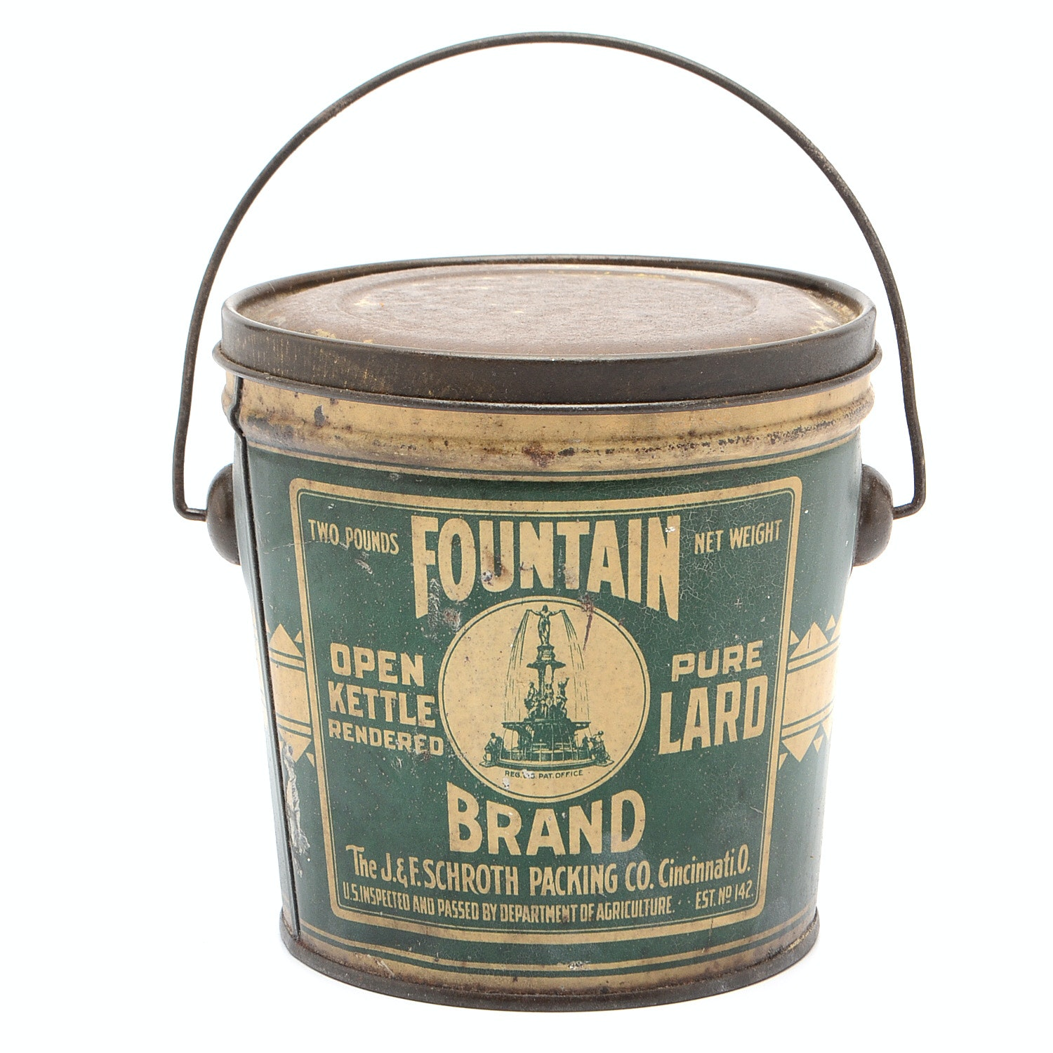 "Vintage Fountain Brand ""Pure Lard"" Container"