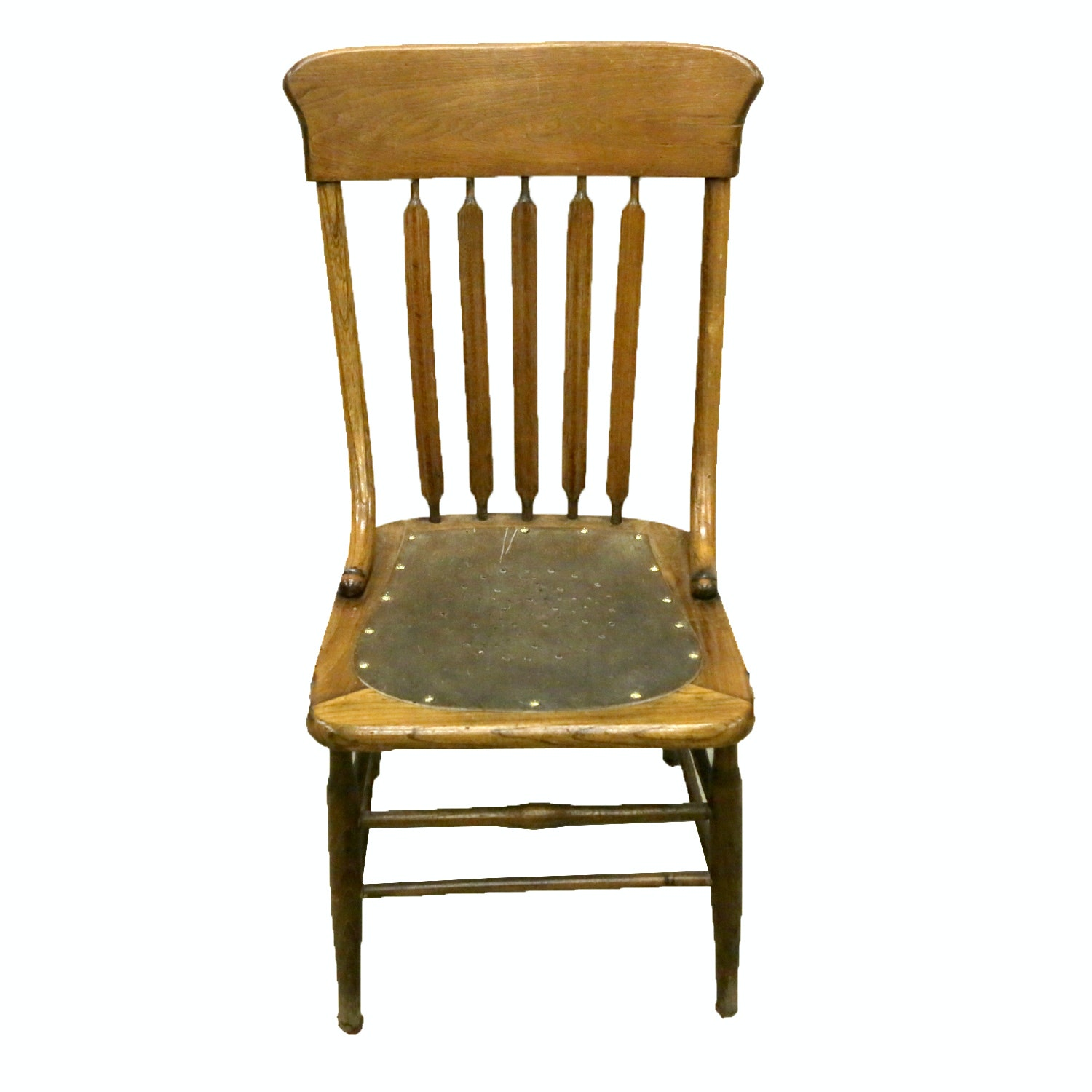 Vintage Side Chair with Leather Seat Pad