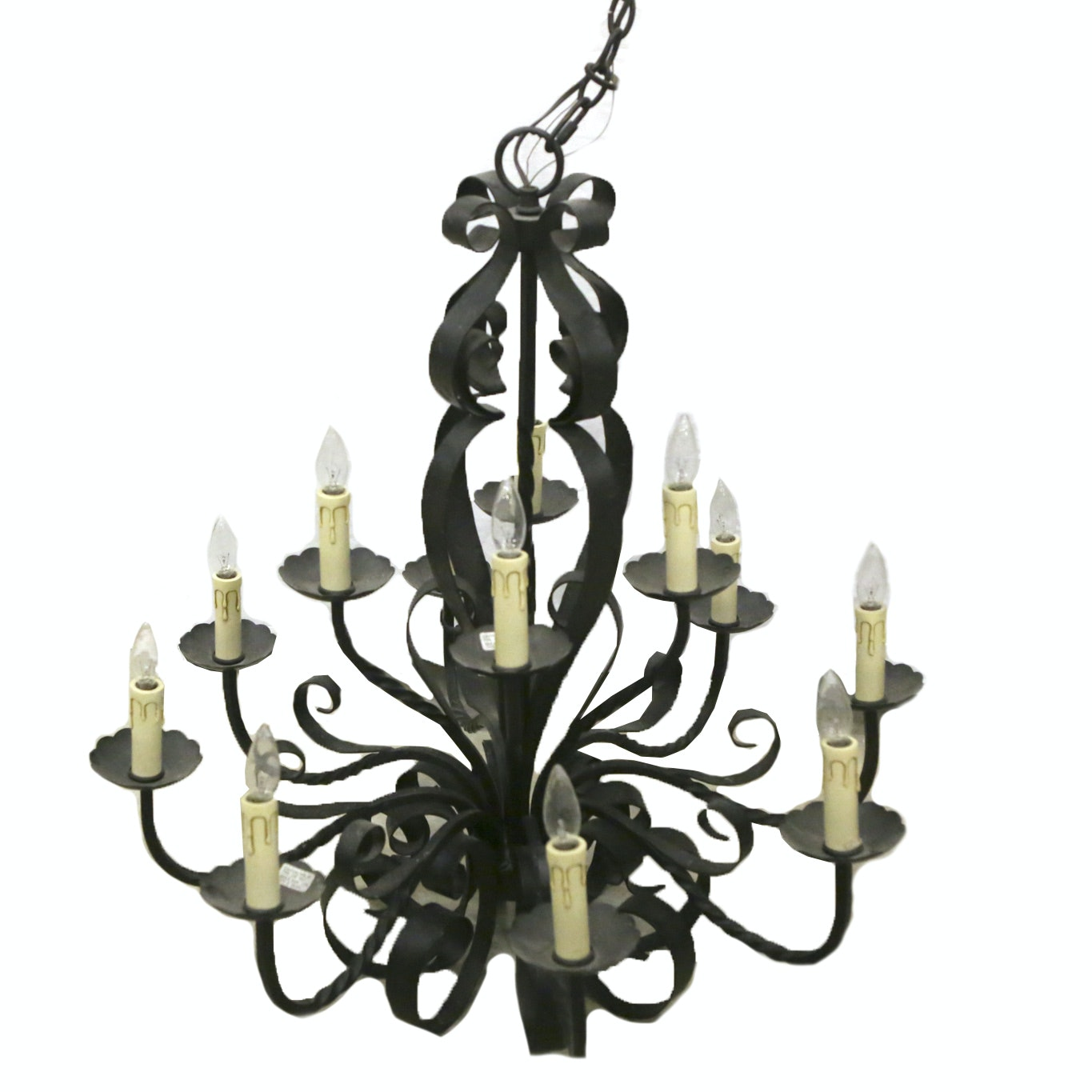 Wrought Iron Faux Candle Chandelier