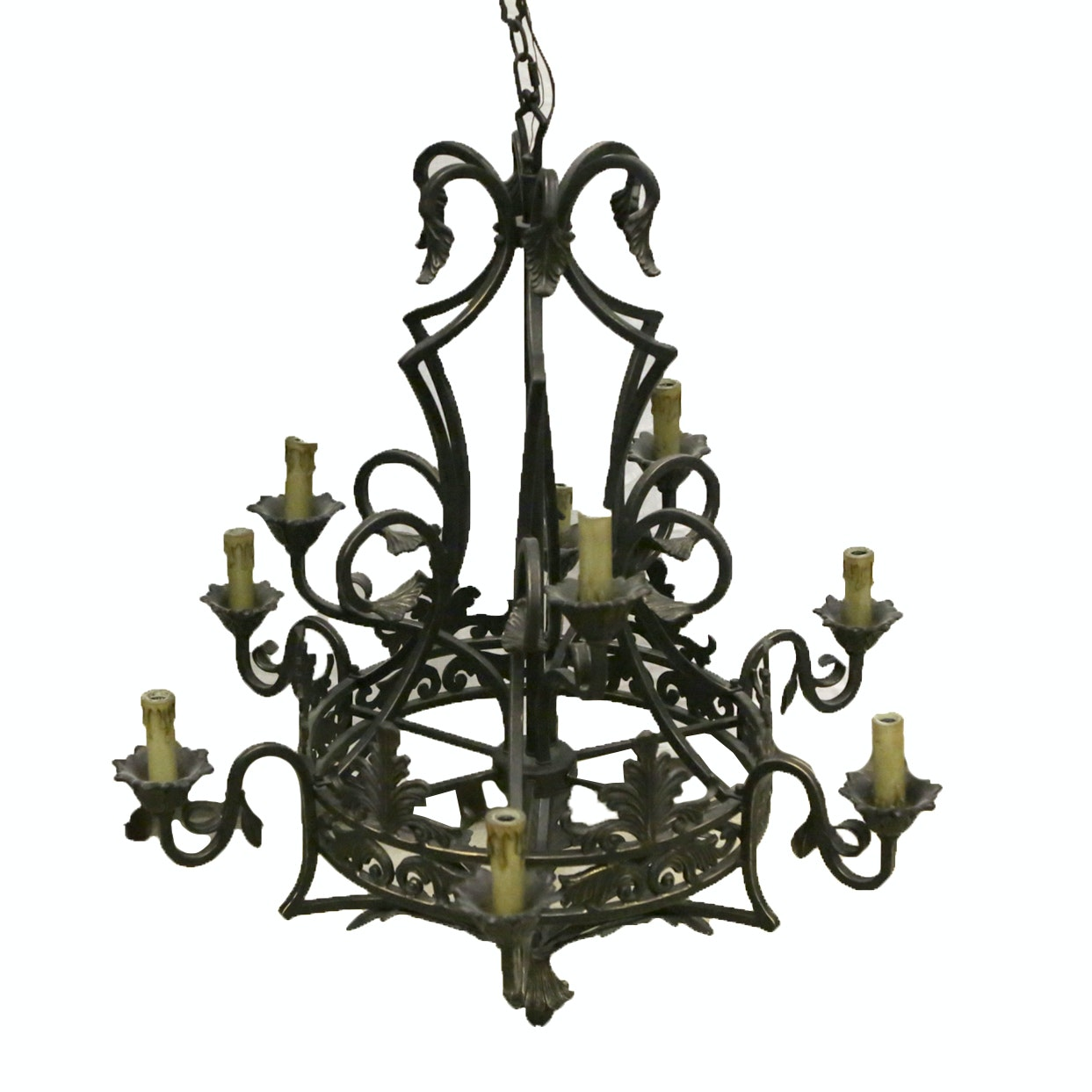 Gothic Style Cast and Wrought Iron Chandelier