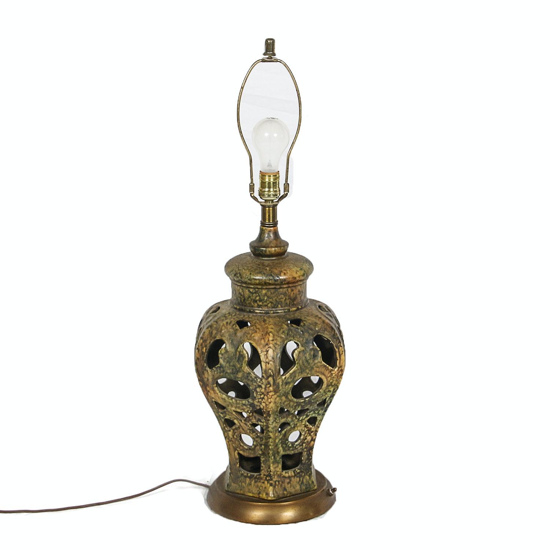 Circa Mid 20th Century Pierced Metal Urn Table Lamp