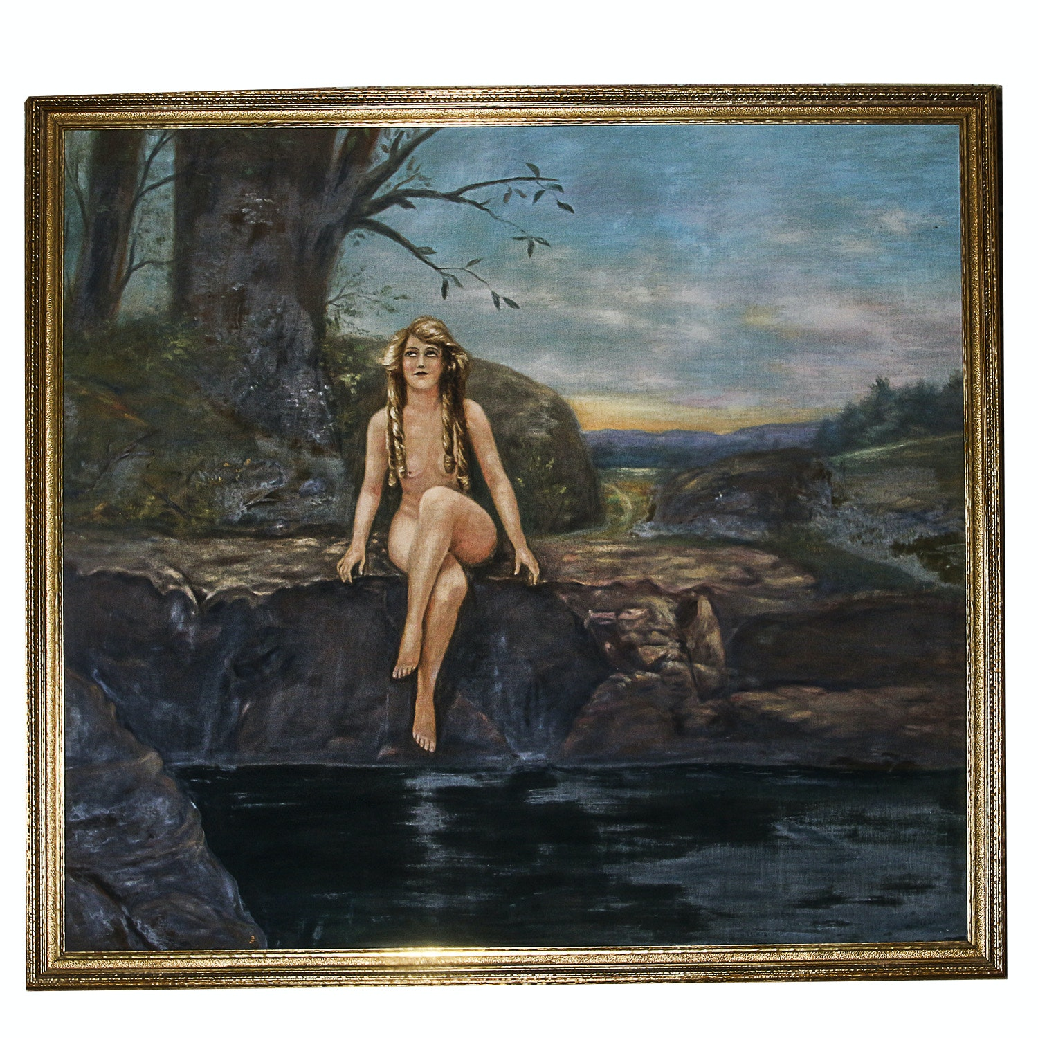 Large Oil Painting on Canvas of Nude Figure in Landscape