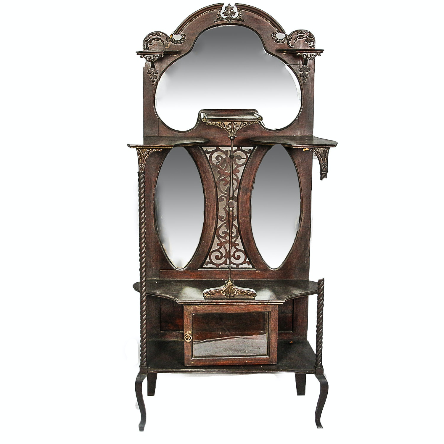 Antique Victorian Mirrored Panel Étagère