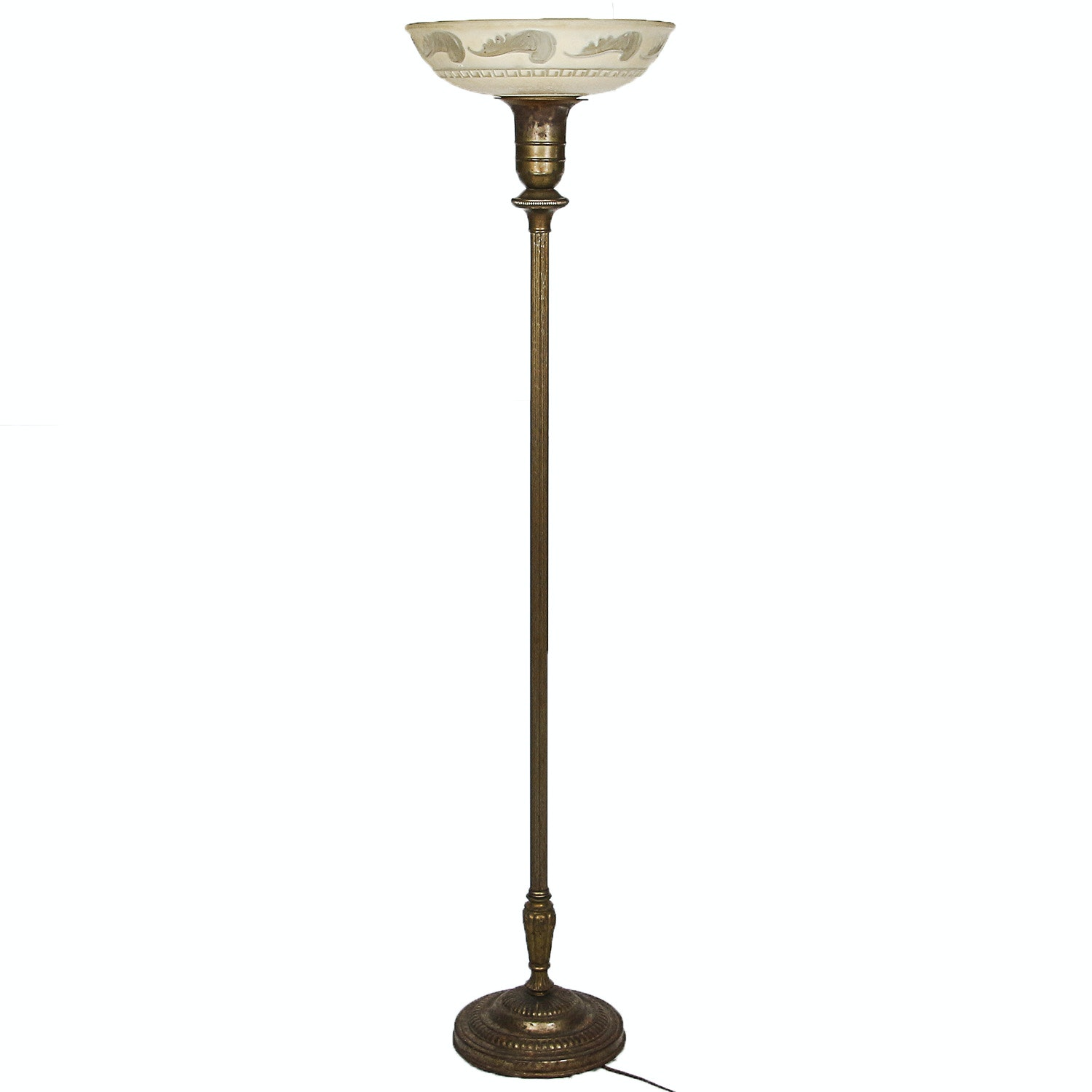 Early to Mid 20th Century Brass Tone Torchiere with Patterned Tinted Shade