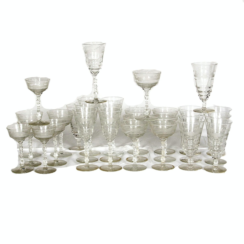 Vintage Goblets and Sherbet Glasses with Etched Floral Motif