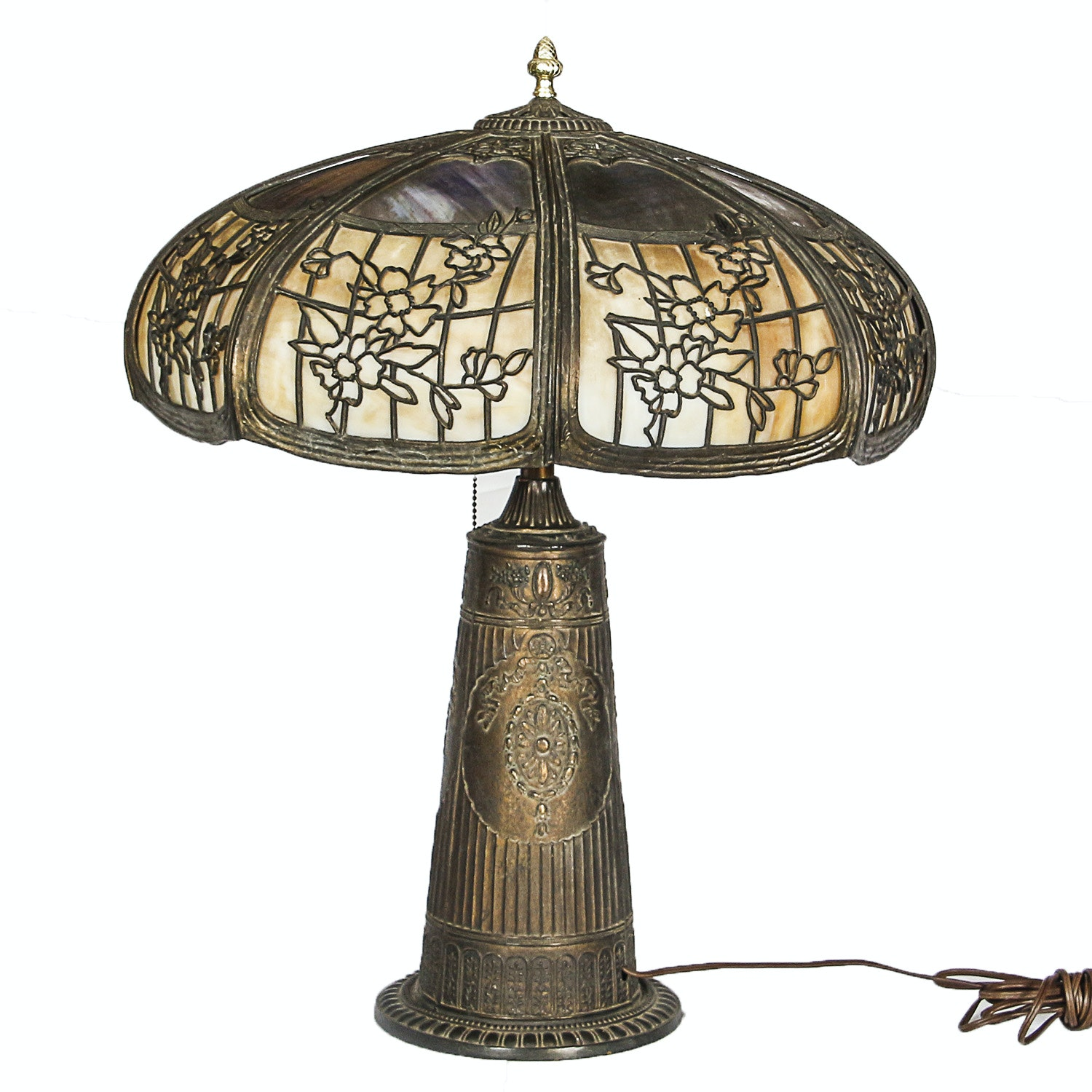 Early 20th Century B & H Style Art Nouveau Slag Glass and Metal Table Lamp