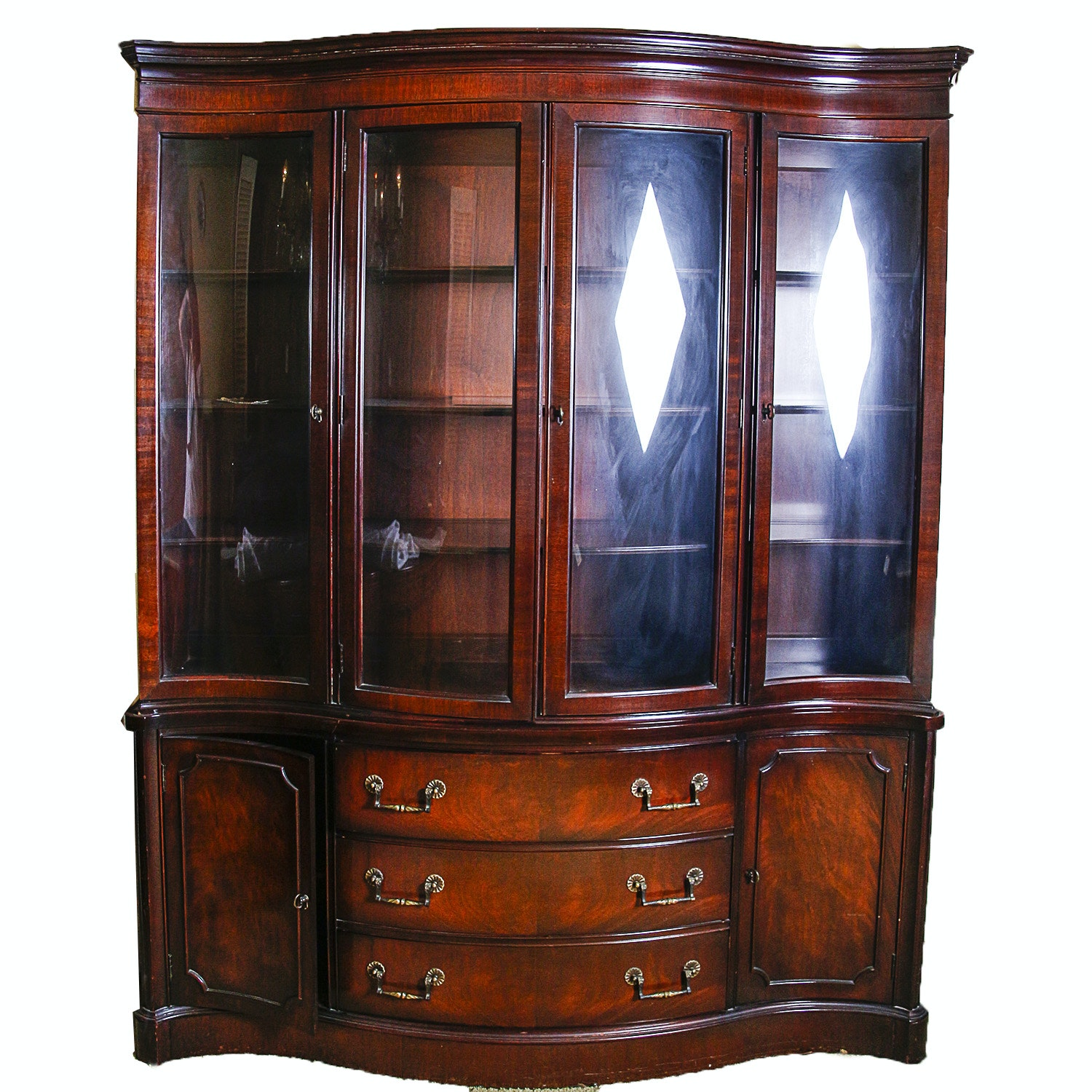 Vintage Georgian Style Mahogany China Cabinet