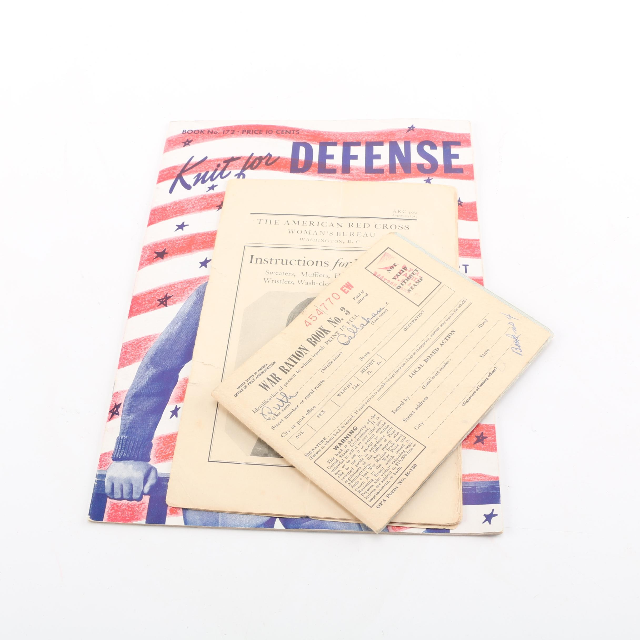 WWII Red Cross and Red Heart Knitting Pamphlets and War Rations
