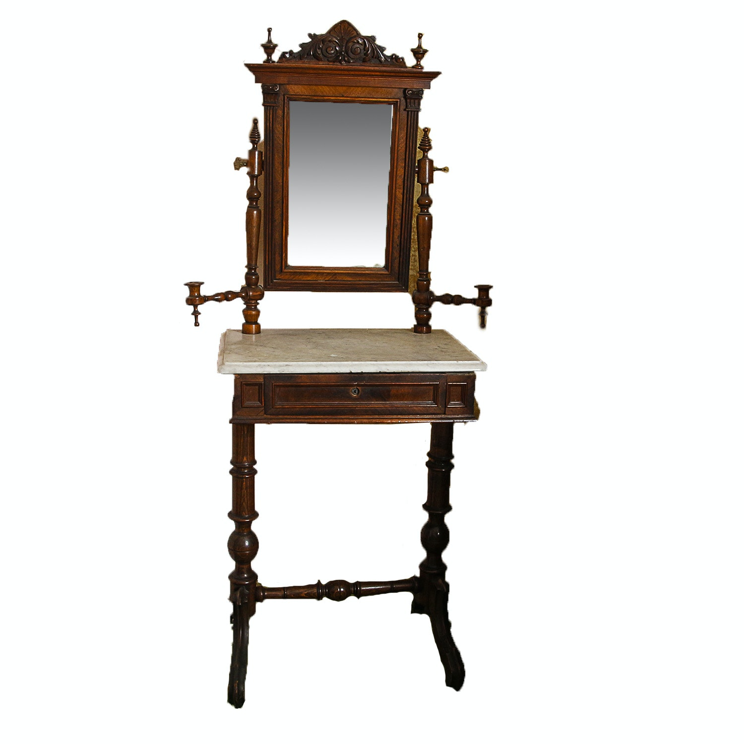 Antique Victorian Marble Top Washstand with Mirror