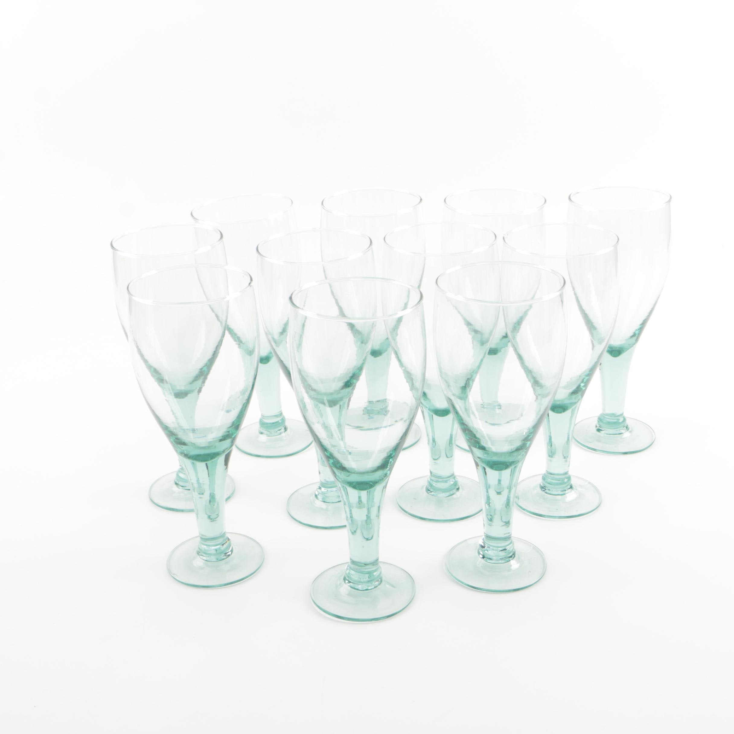 Set of Eleven Hand-Blown Glass Water Glasses
