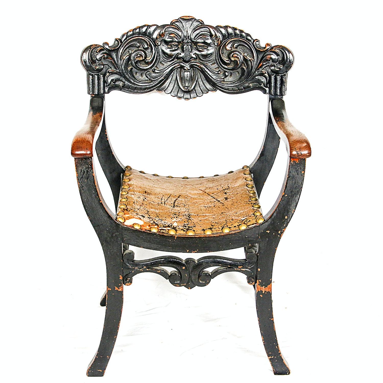 Antique Italian Renaissance Style Savonarola Chair