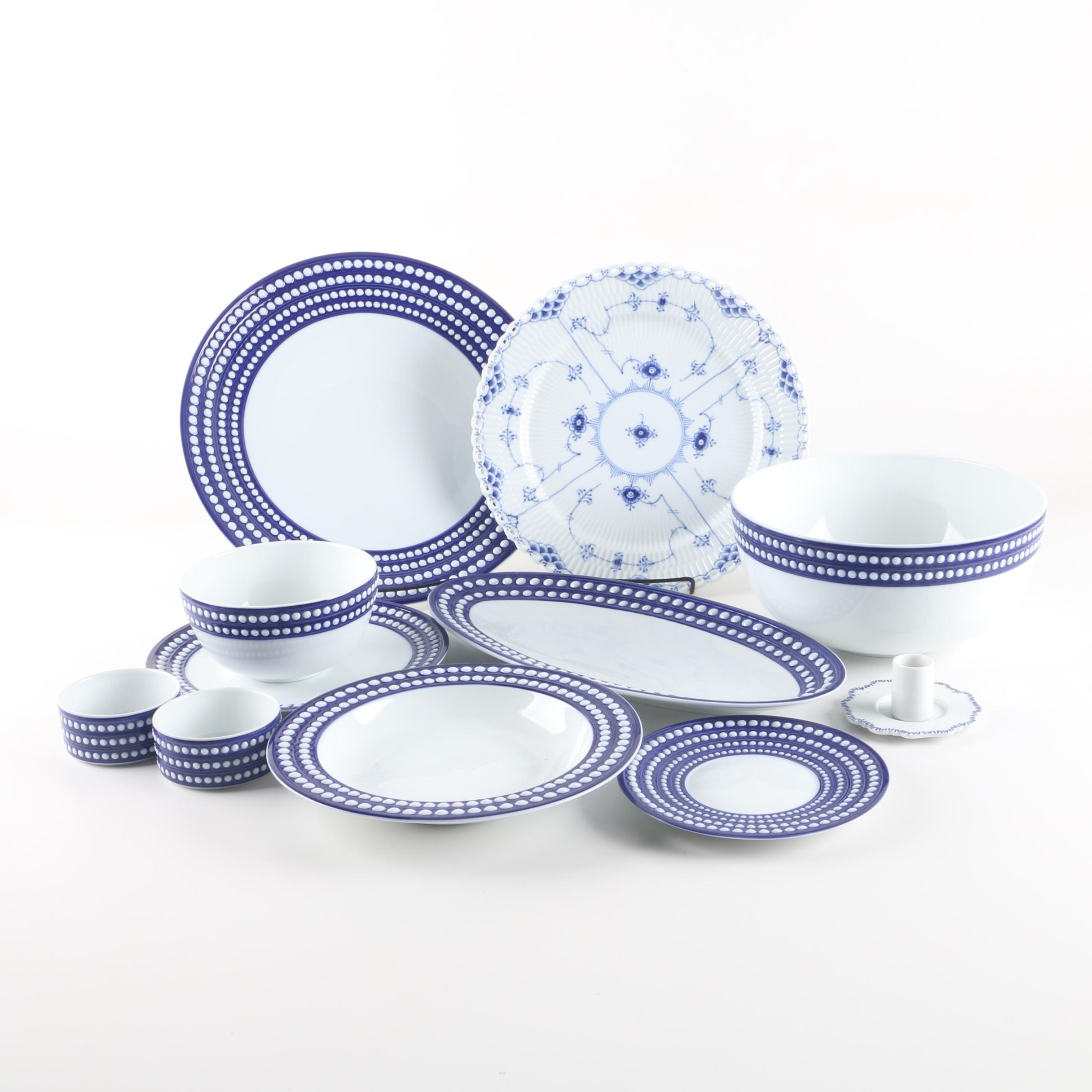 """L'Objet """"Perlée Bleu"""" Porcelain Tableware with Royal Copenhagen Plate"""