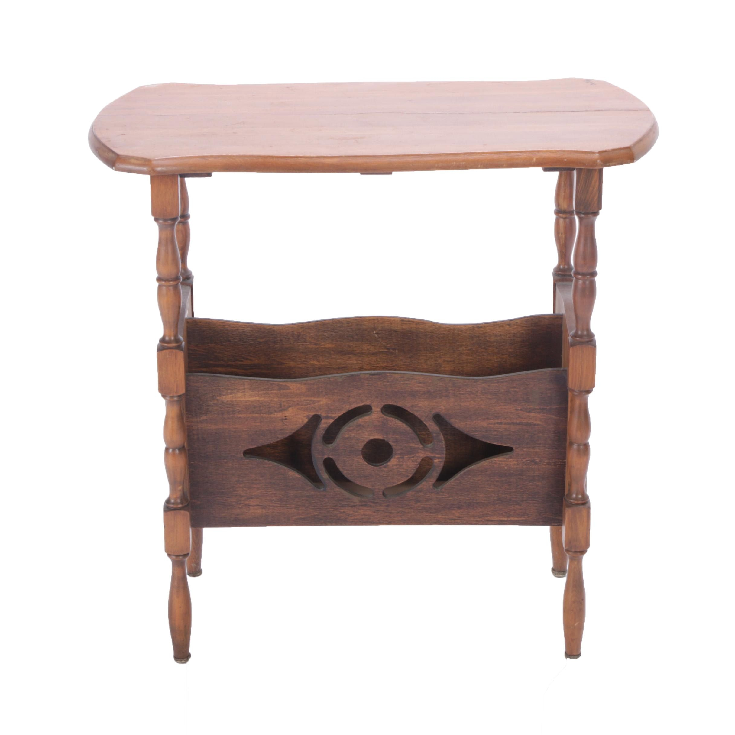 Arts and Crafts Style End Table with Book Rack