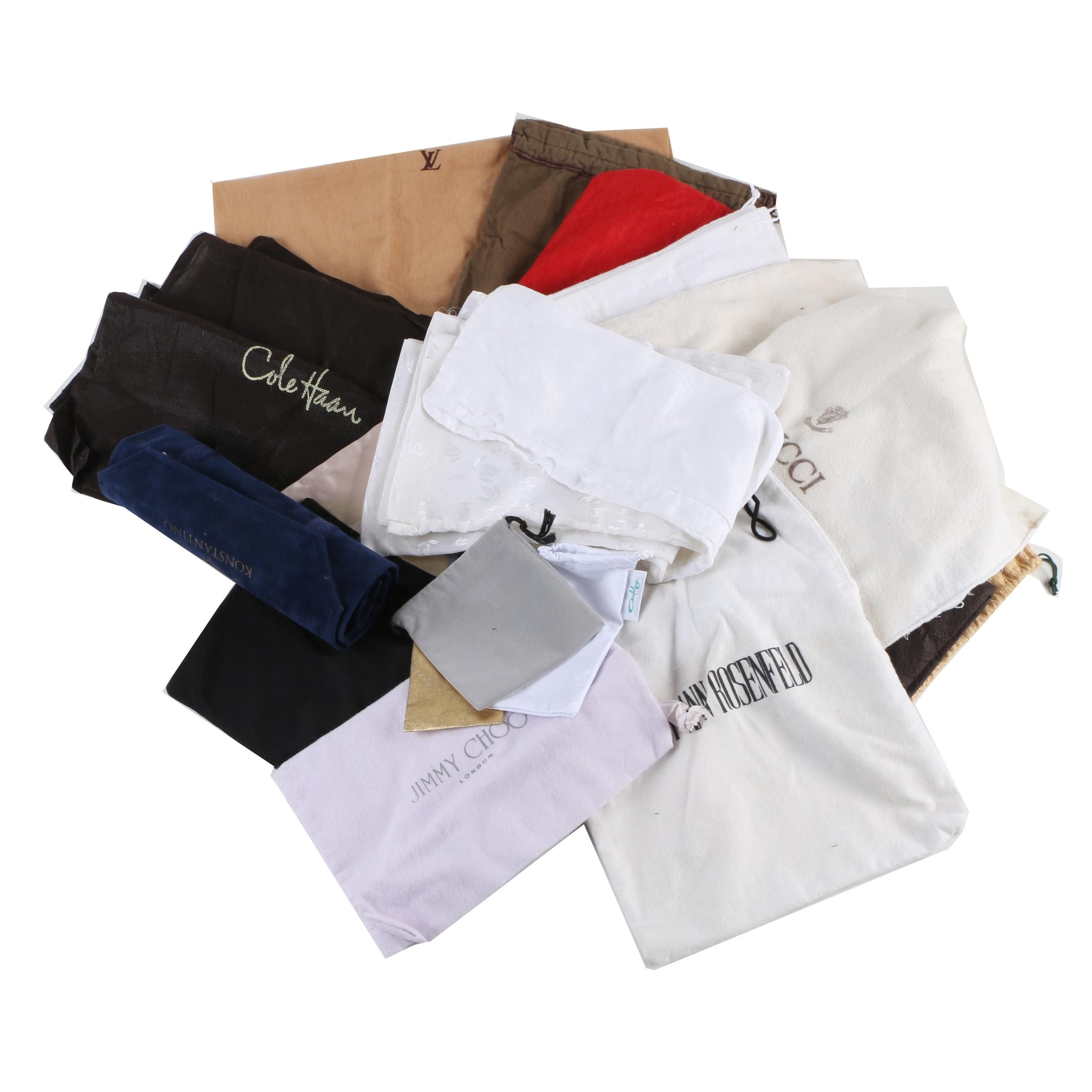 Designer Dust Covers and Pouches Including Vintage Christian Dior and Gucci