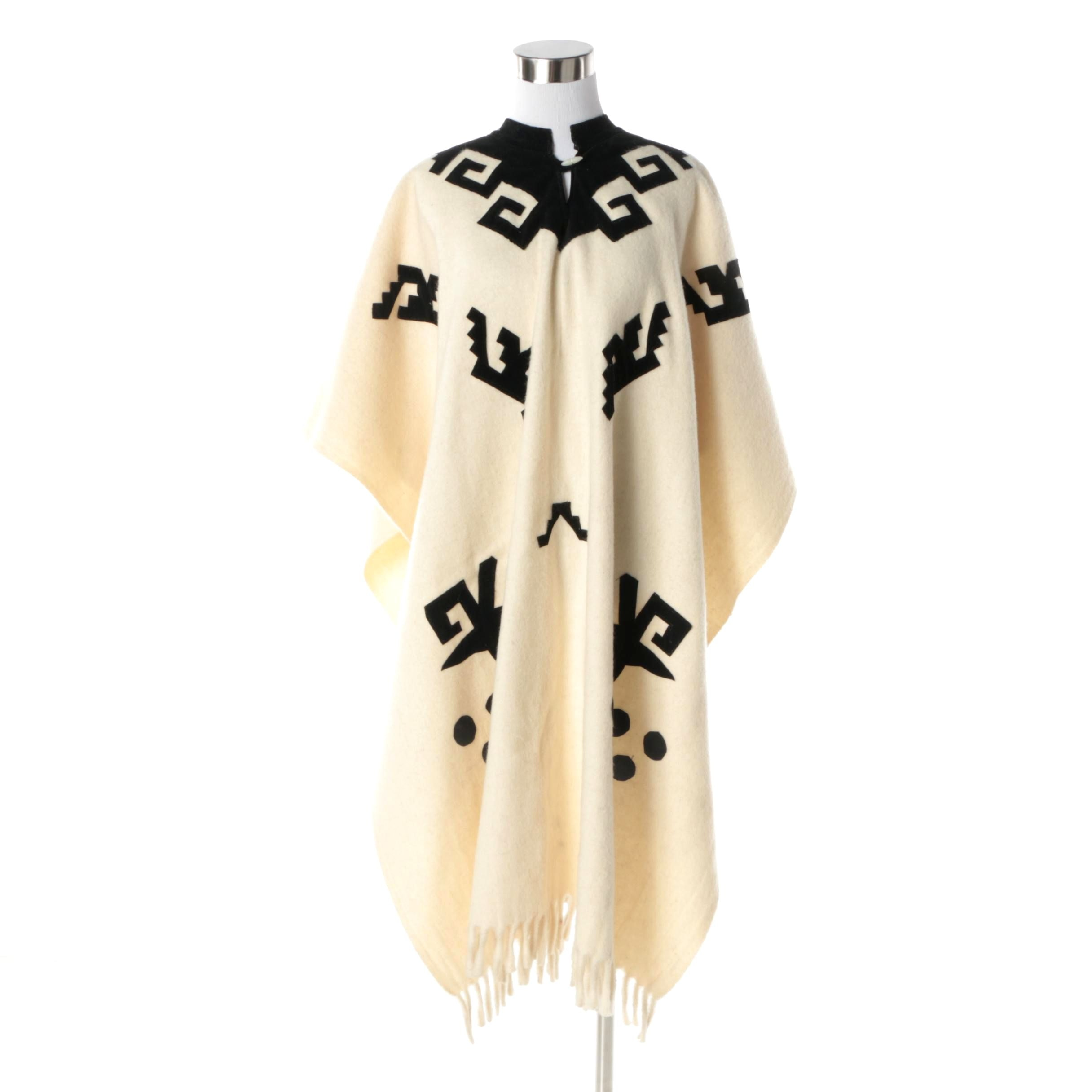 Women's Vintage Cream Wool Poncho with Black Velveteen Geometric Accents