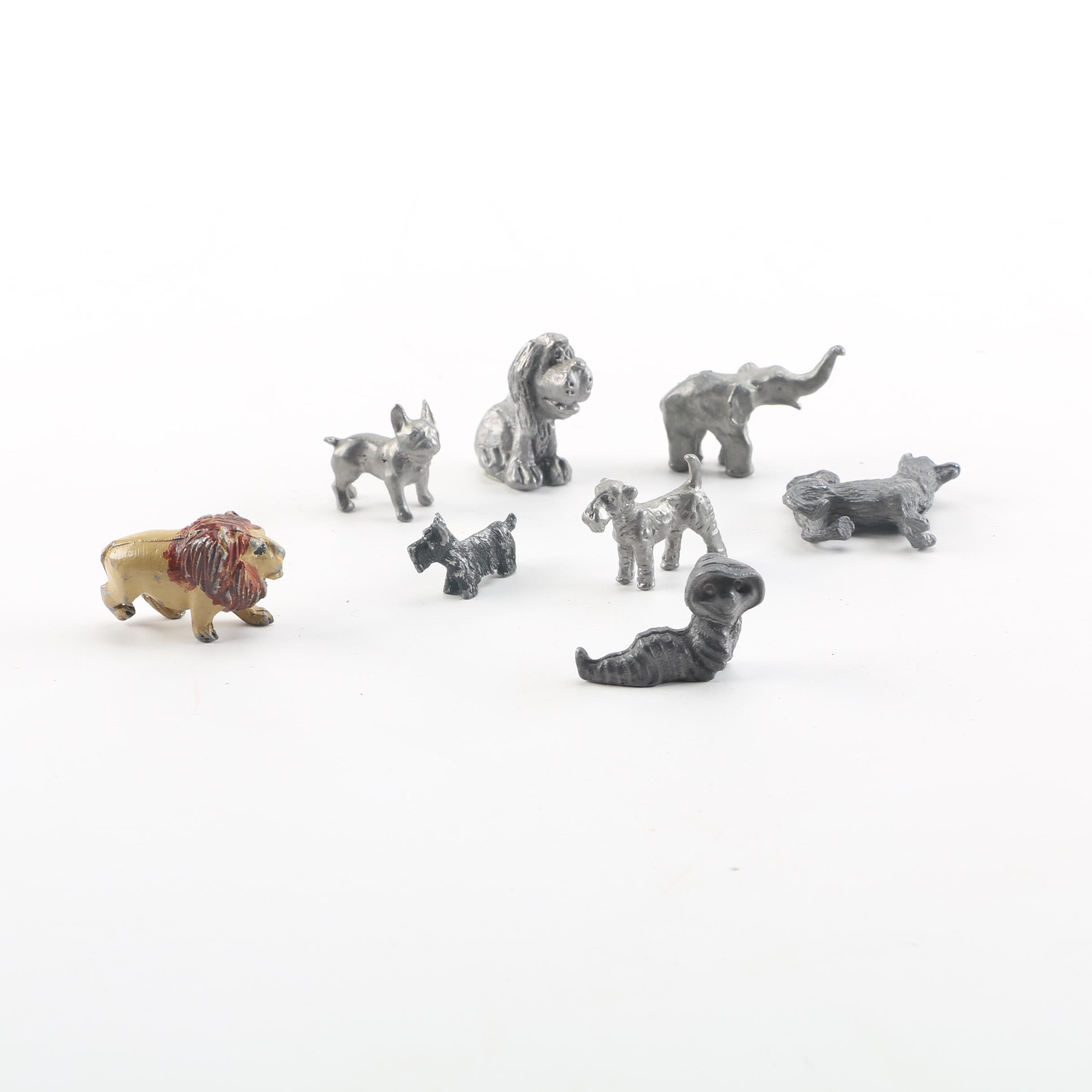Eight Metal and Resin Animal Figurines