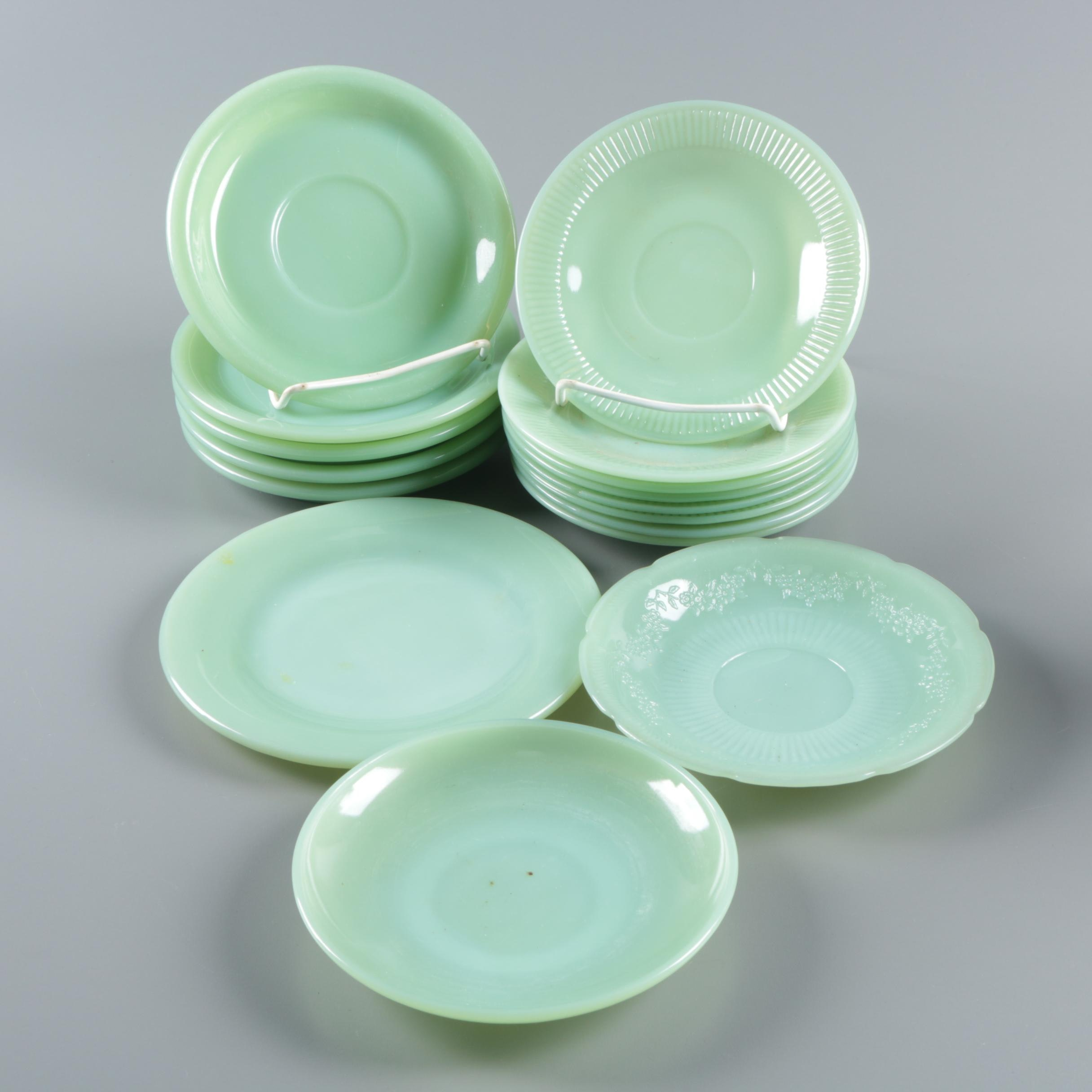 "Anchor Hocking Jadeite ""Alice"" and ""Jane Ray"" Glass Saucers 1945-63"