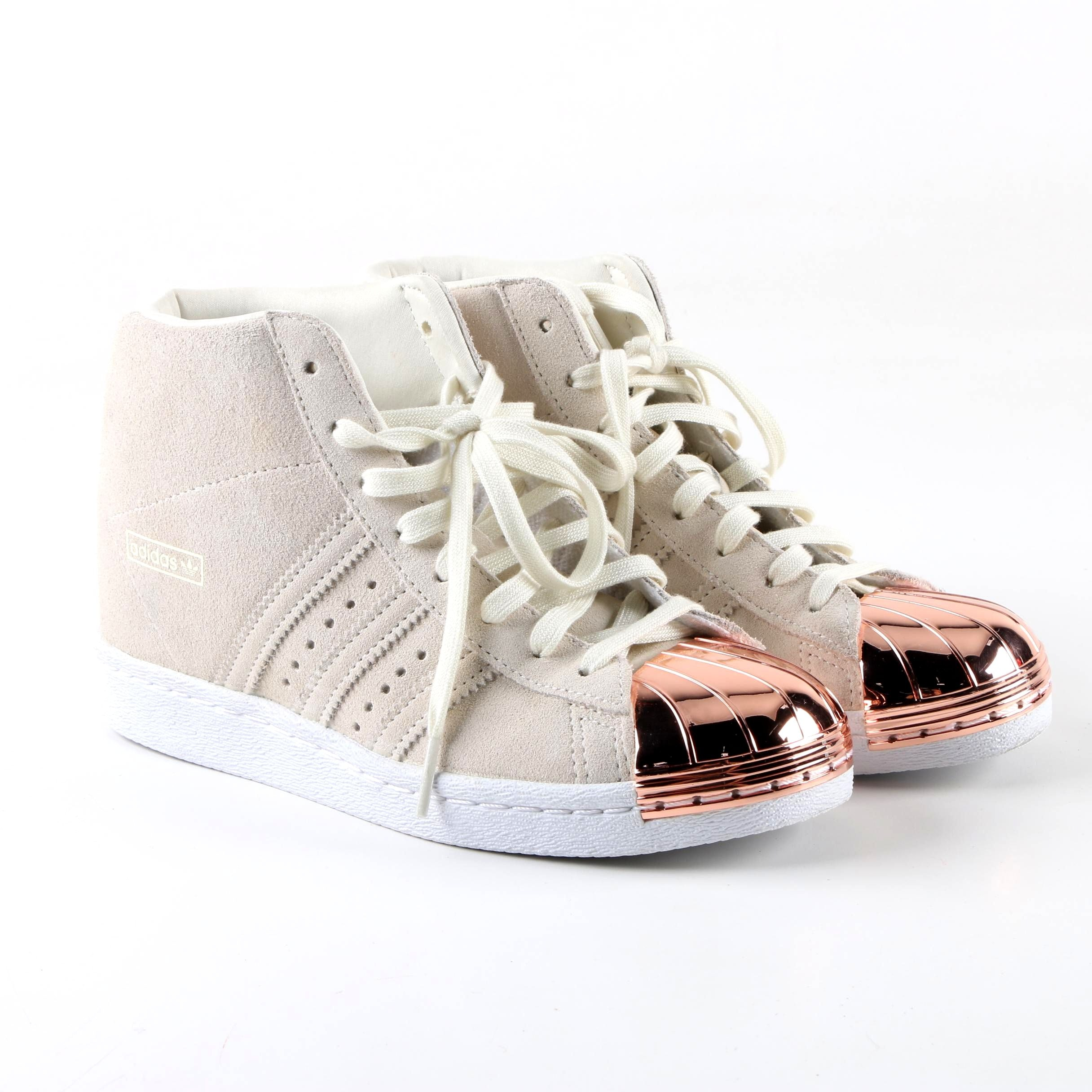 Adidas Superstar Up Metal Toe Off-White Suede High Top Sneakers